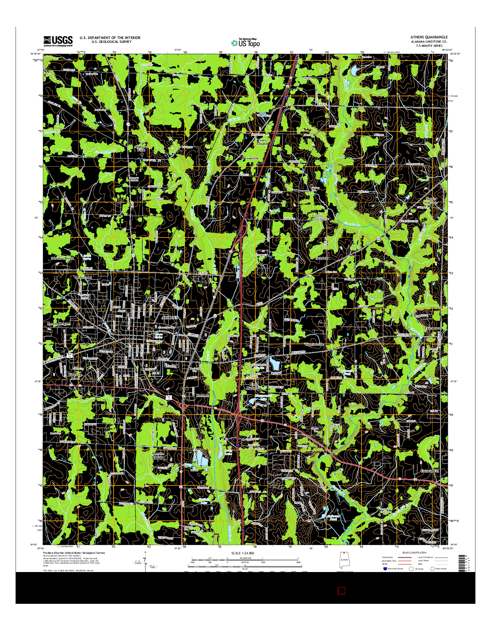 USGS US TOPO 7.5-MINUTE MAP FOR ATHENS, AL 2014