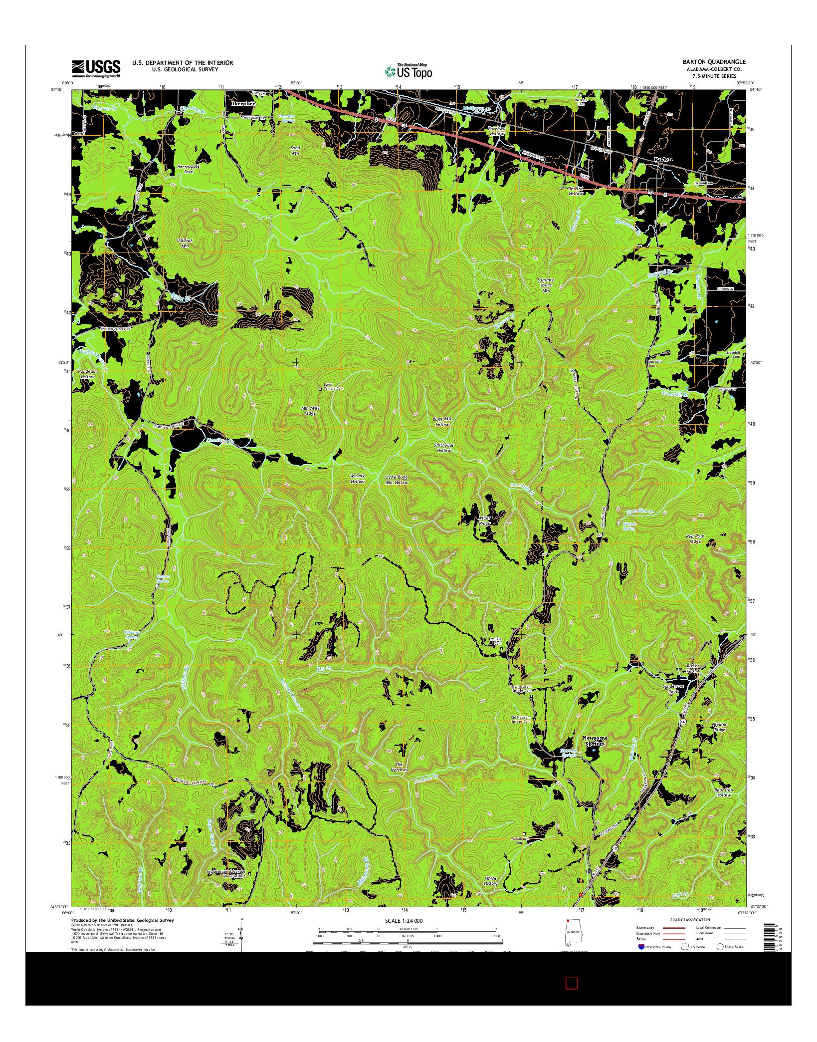 USGS US TOPO 7.5-MINUTE MAP FOR BARTON, AL 2014