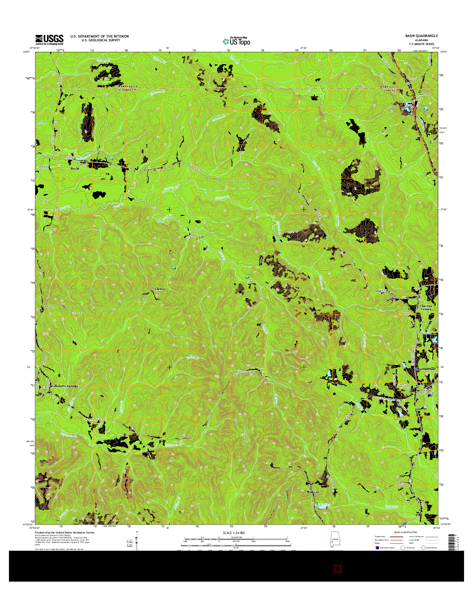 USGS US TOPO 7.5-MINUTE MAP FOR BASHI, AL 2014
