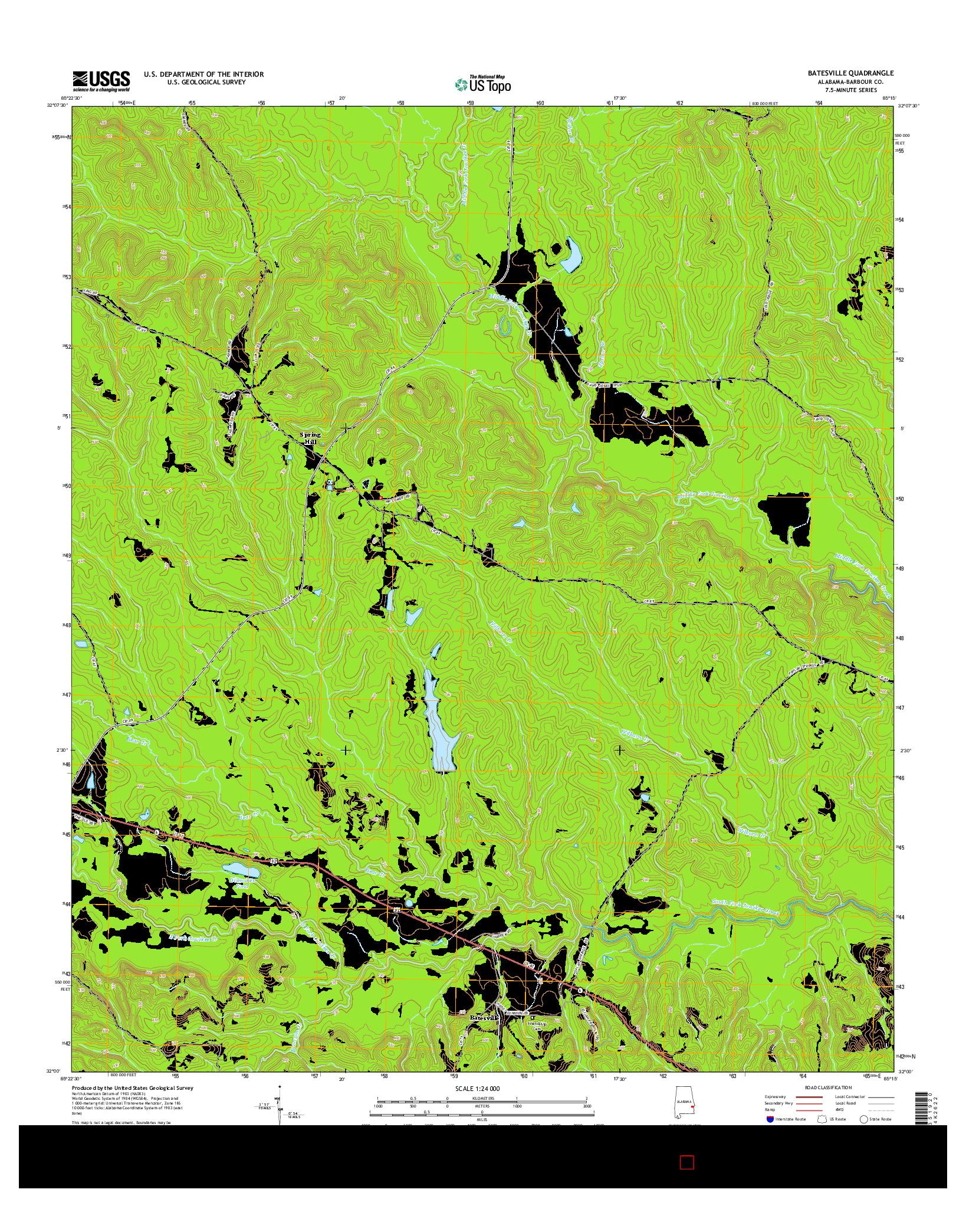 USGS US TOPO 7.5-MINUTE MAP FOR BATESVILLE, AL 2014
