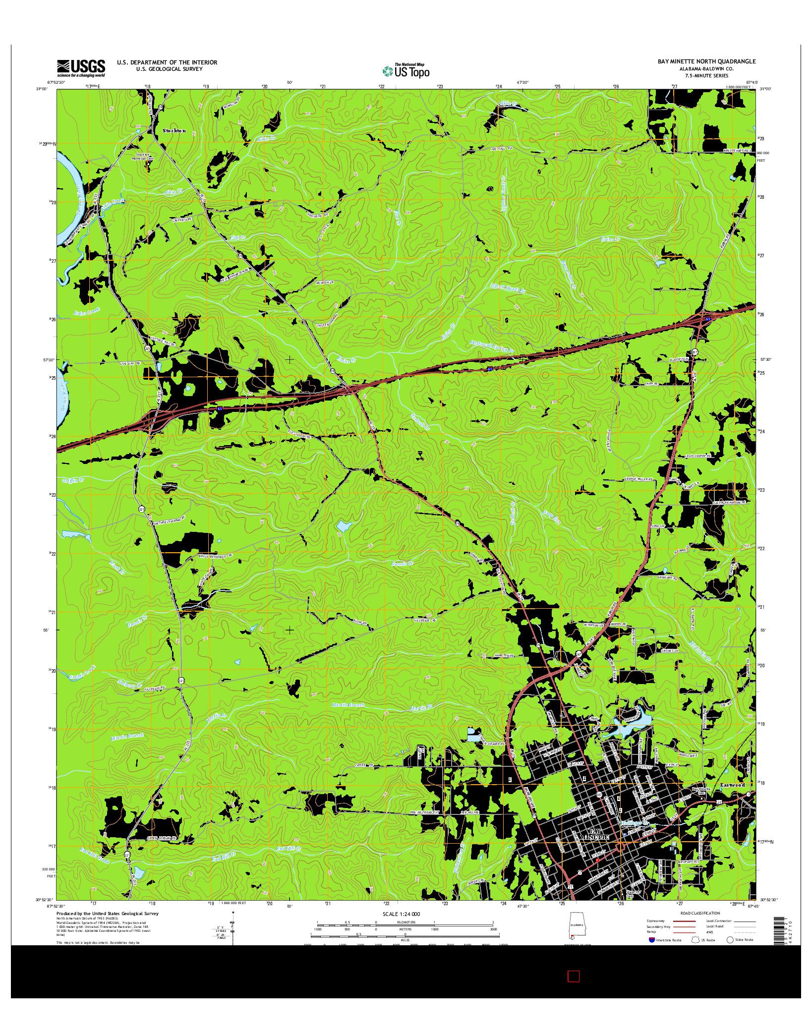 USGS US TOPO 7.5-MINUTE MAP FOR BAY MINETTE NORTH, AL 2014