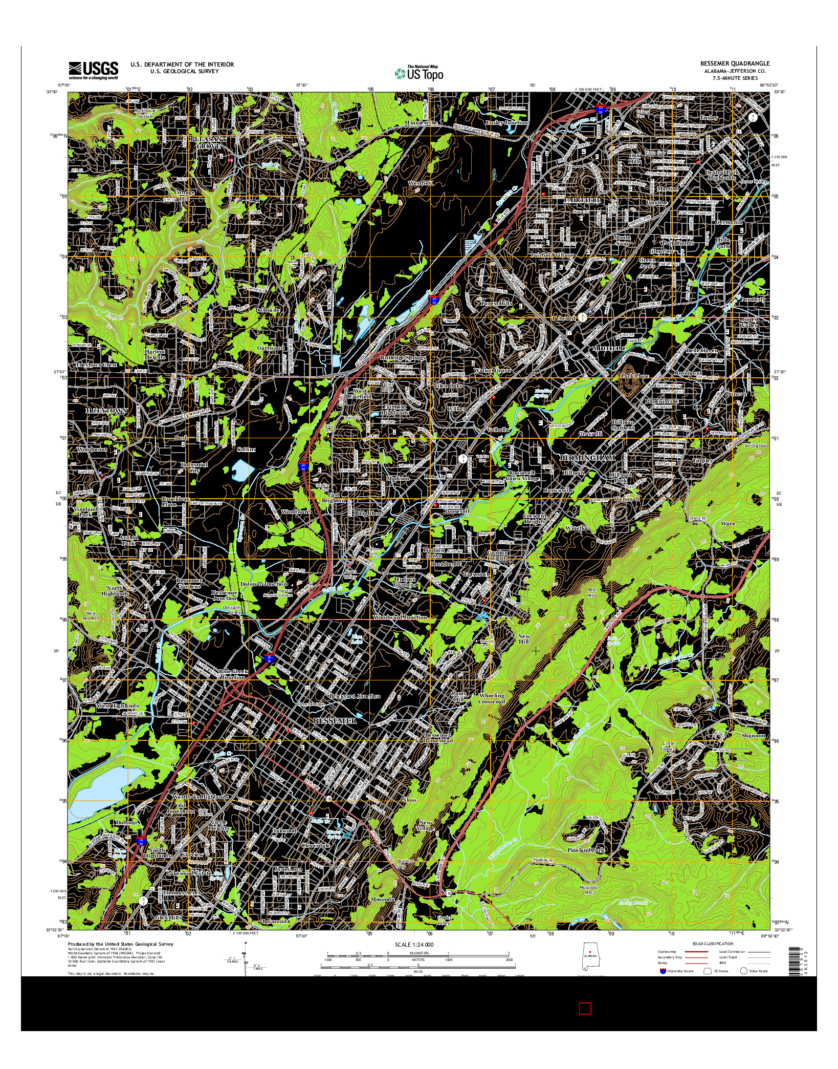 USGS US TOPO 7.5-MINUTE MAP FOR BESSEMER, AL 2014