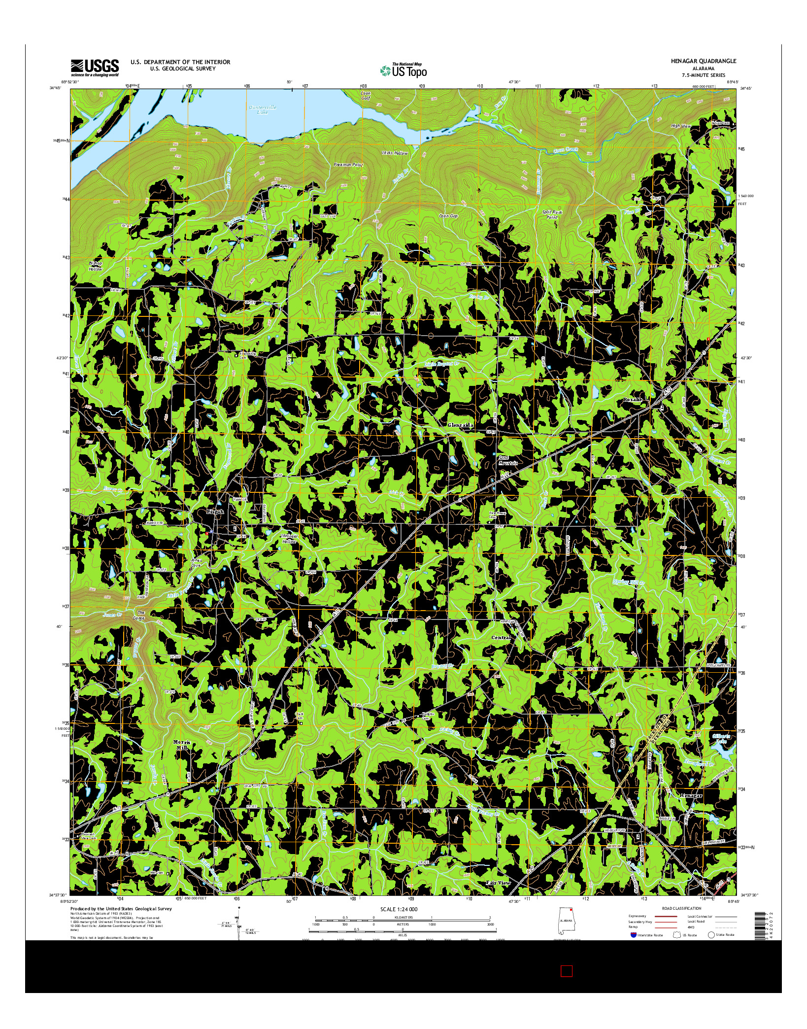 USGS US TOPO 7.5-MINUTE MAP FOR HENAGAR, AL 2014