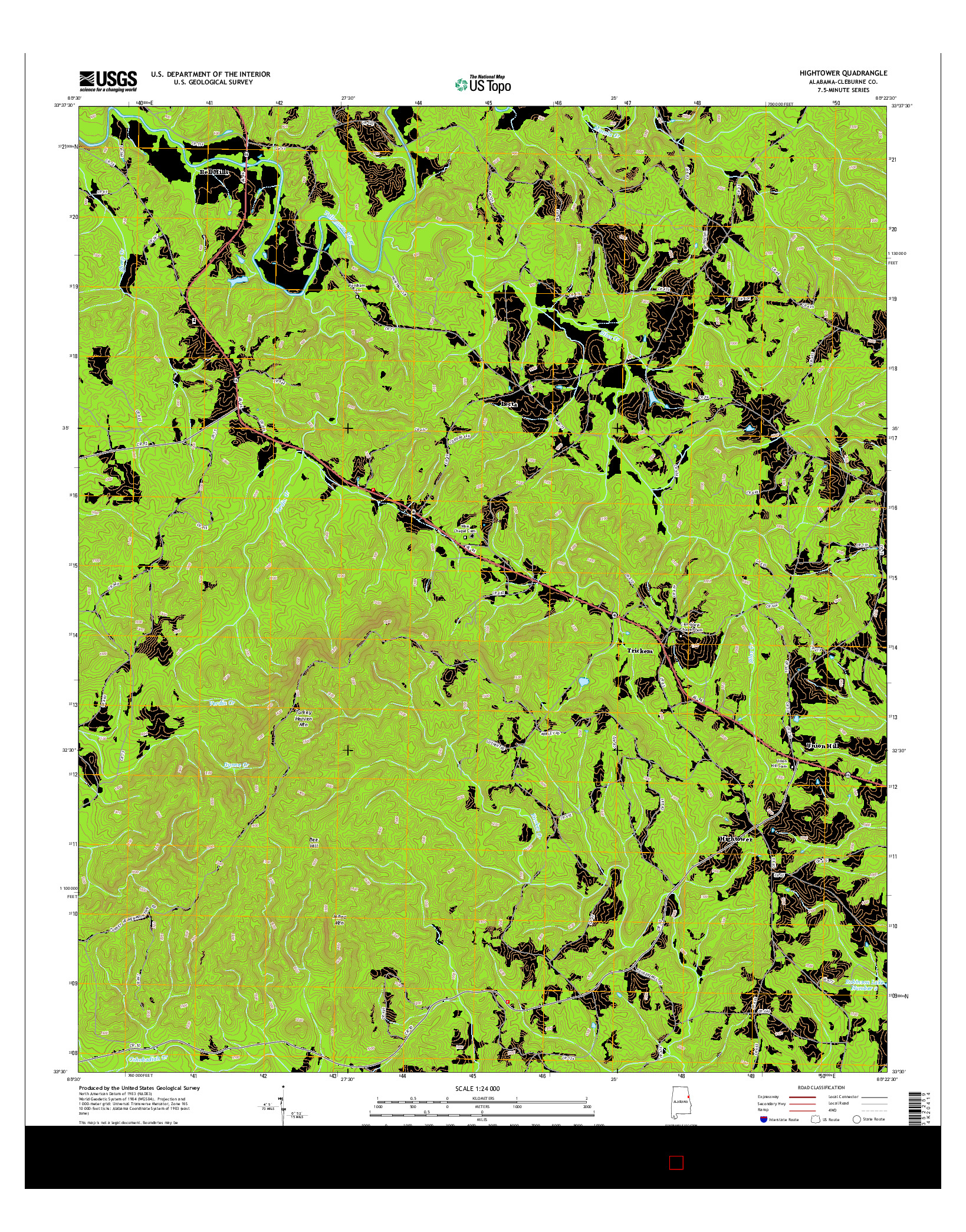 USGS US TOPO 7.5-MINUTE MAP FOR HIGHTOWER, AL 2014