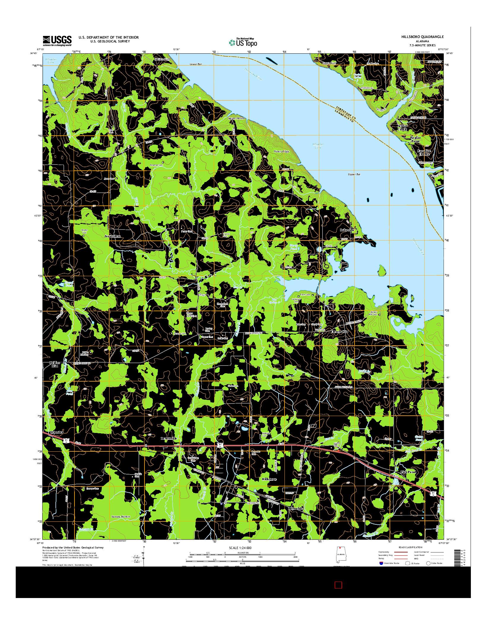 USGS US TOPO 7.5-MINUTE MAP FOR HILLSBORO, AL 2014