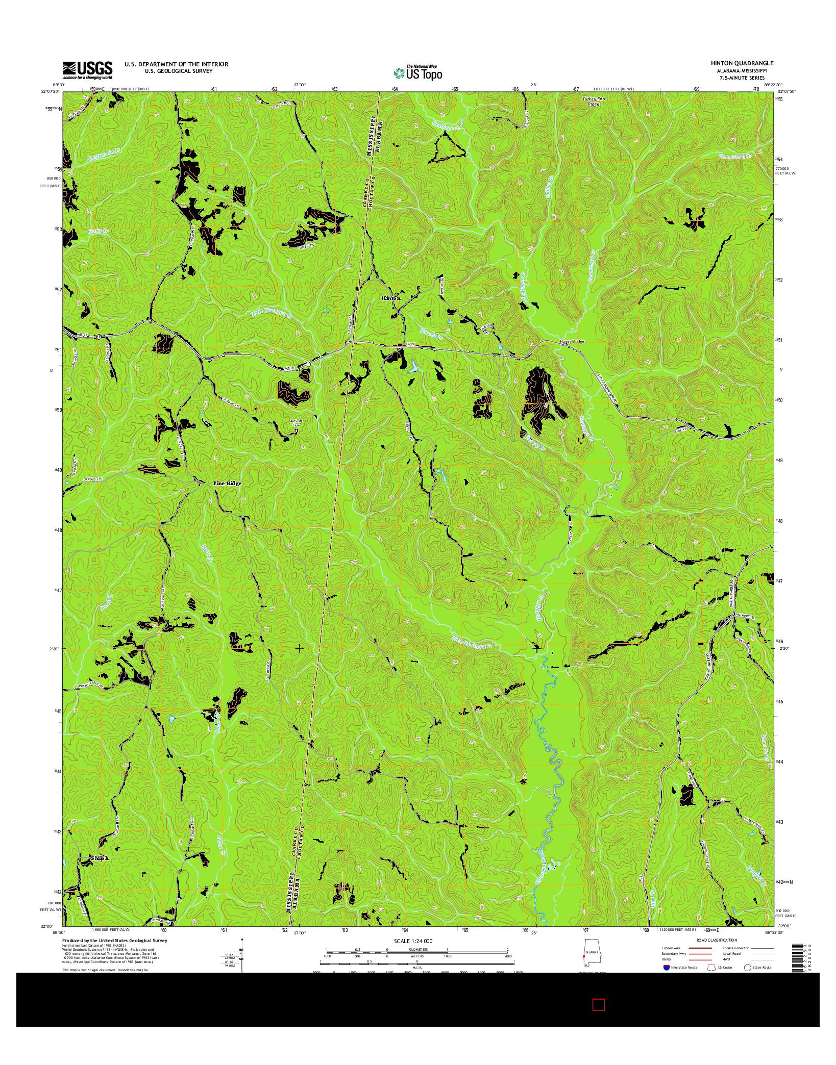 USGS US TOPO 7.5-MINUTE MAP FOR HINTON, AL-MS 2014