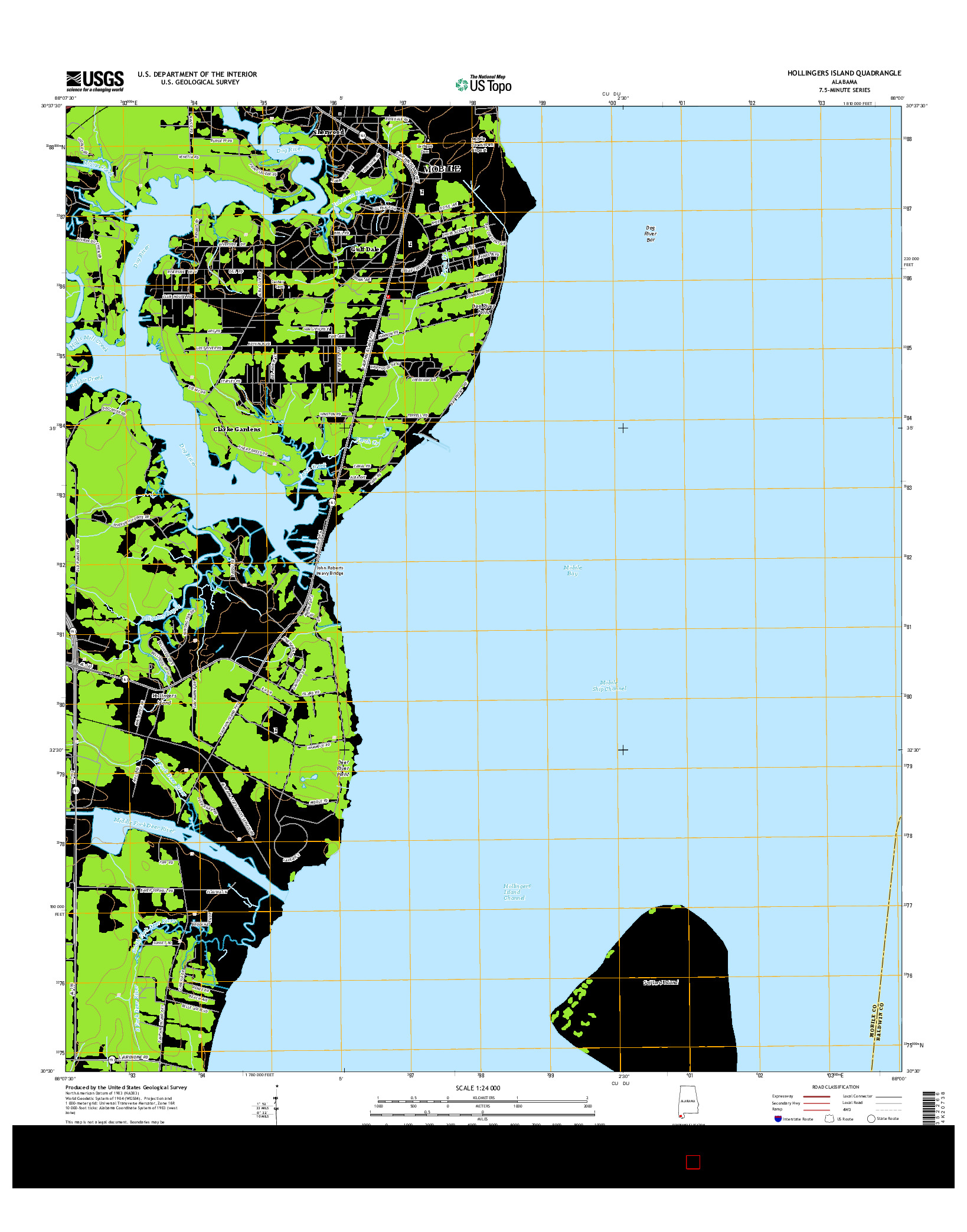 USGS US TOPO 7.5-MINUTE MAP FOR HOLLINGERS ISLAND, AL 2014