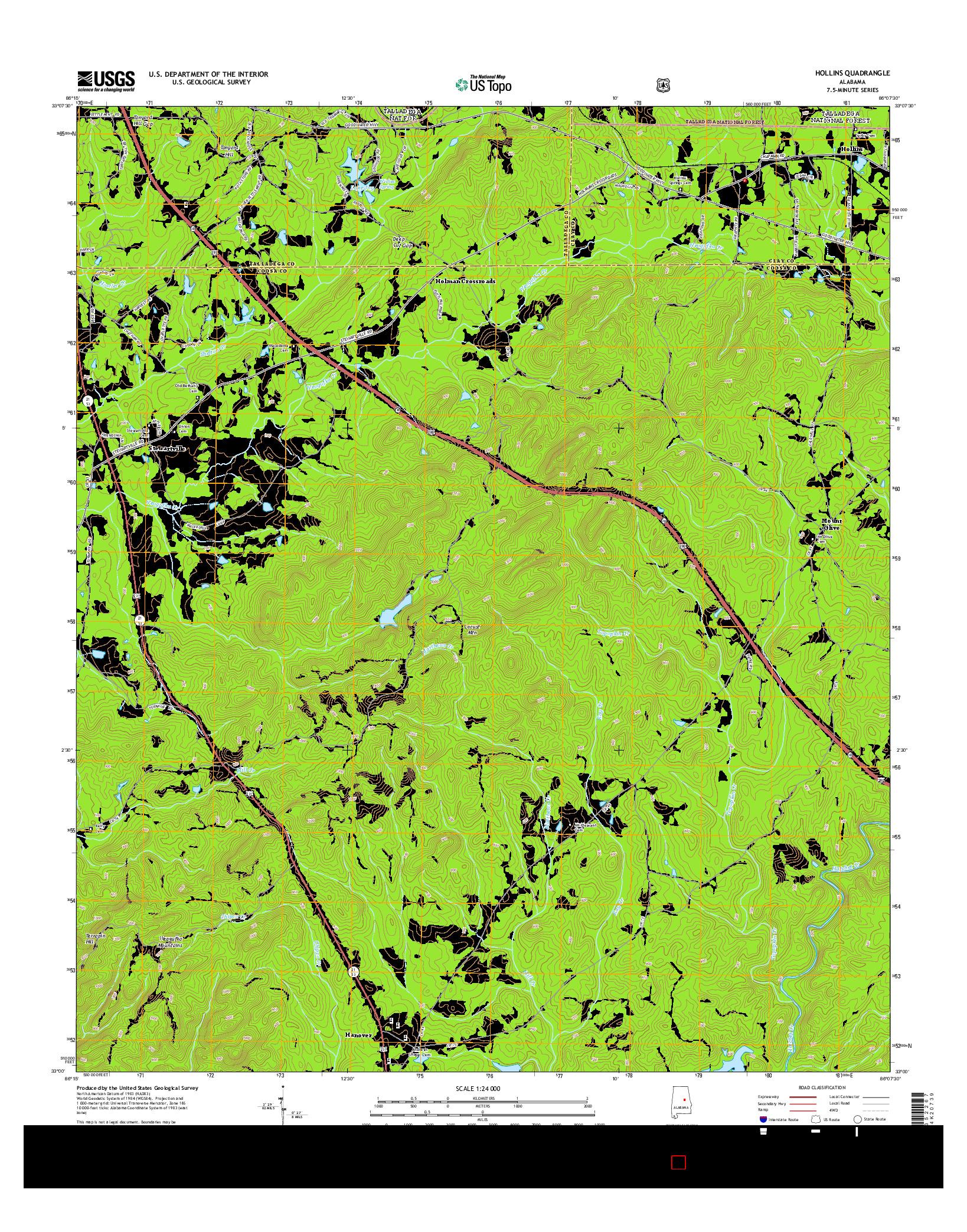 USGS US TOPO 7.5-MINUTE MAP FOR HOLLINS, AL 2014