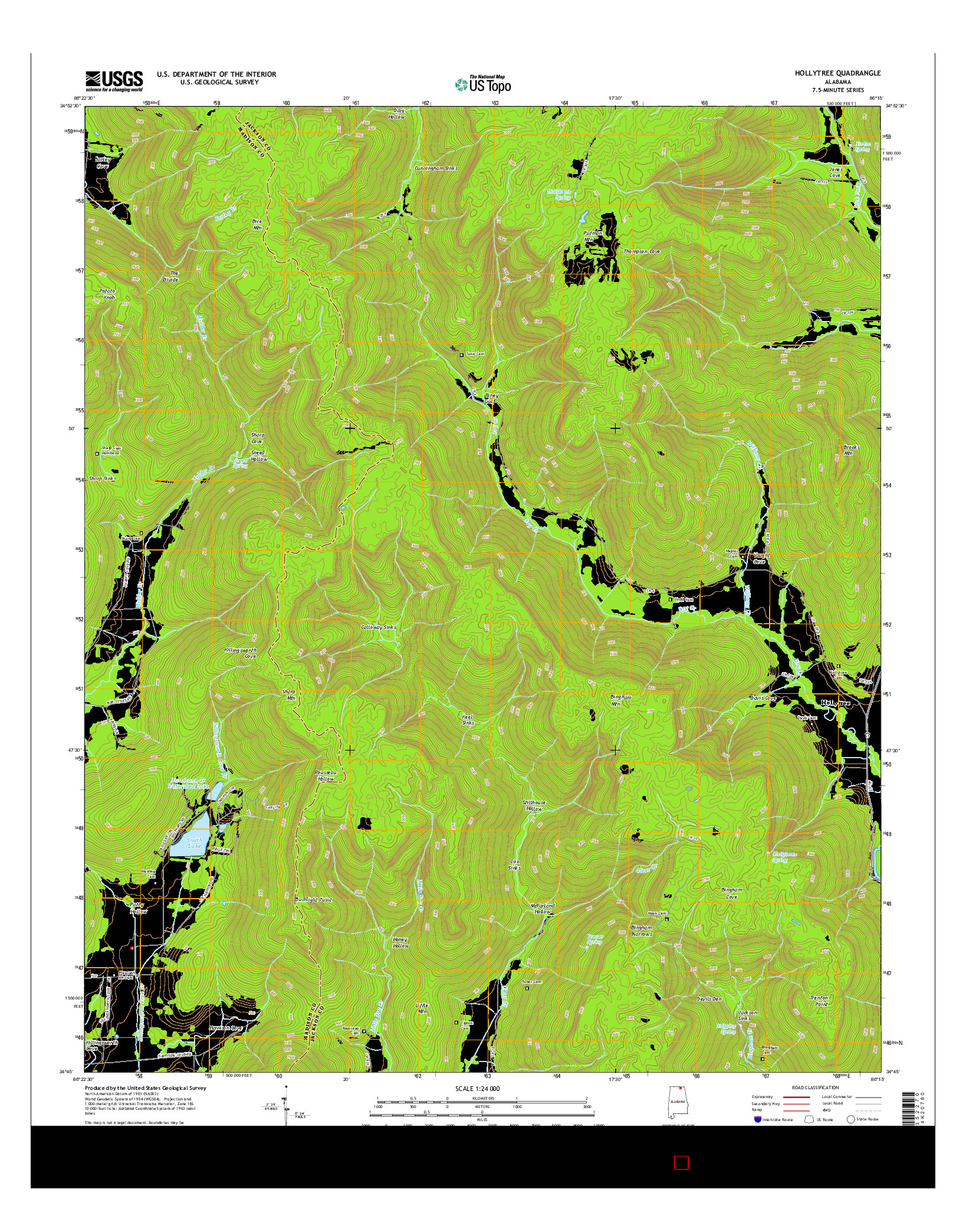 USGS US TOPO 7.5-MINUTE MAP FOR HOLLYTREE, AL 2014