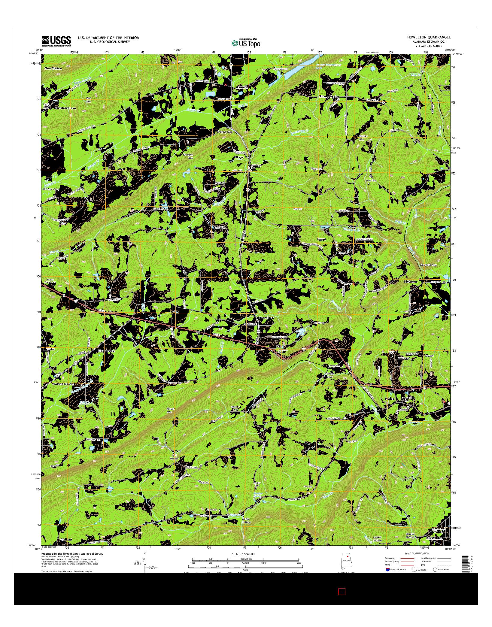 USGS US TOPO 7.5-MINUTE MAP FOR HOWELTON, AL 2014