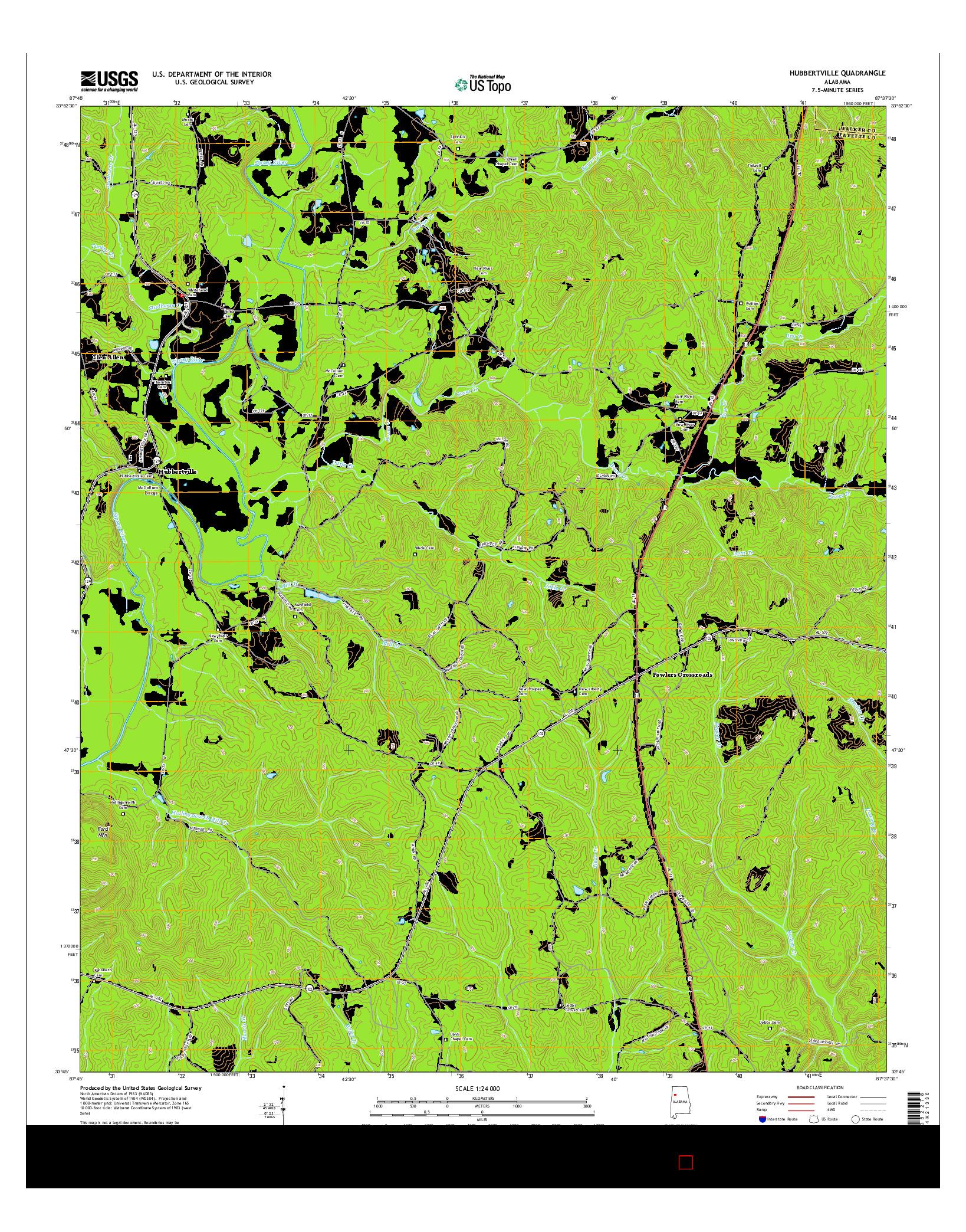 USGS US TOPO 7.5-MINUTE MAP FOR HUBBERTVILLE, AL 2014