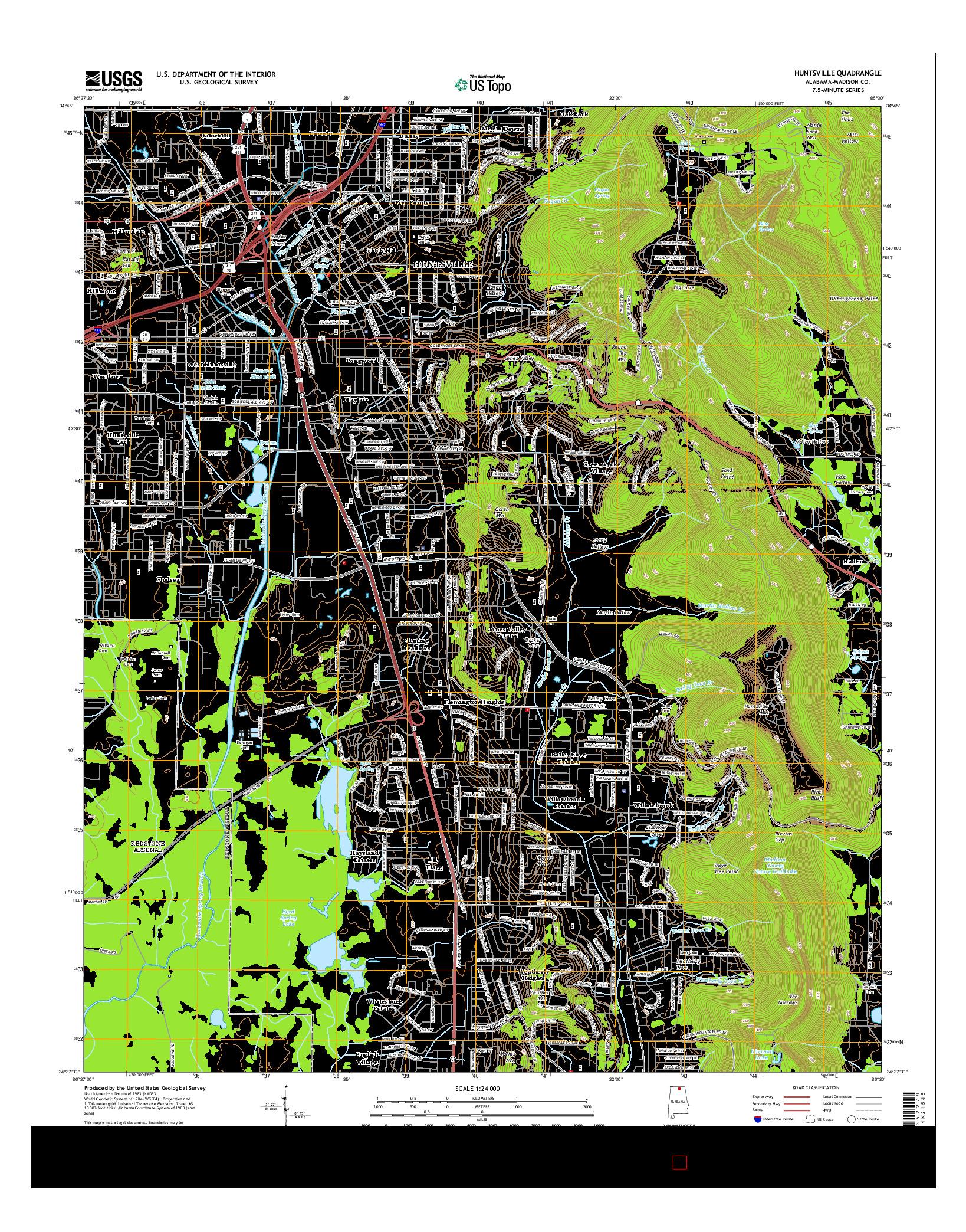 USGS US TOPO 7.5-MINUTE MAP FOR HUNTSVILLE, AL 2014