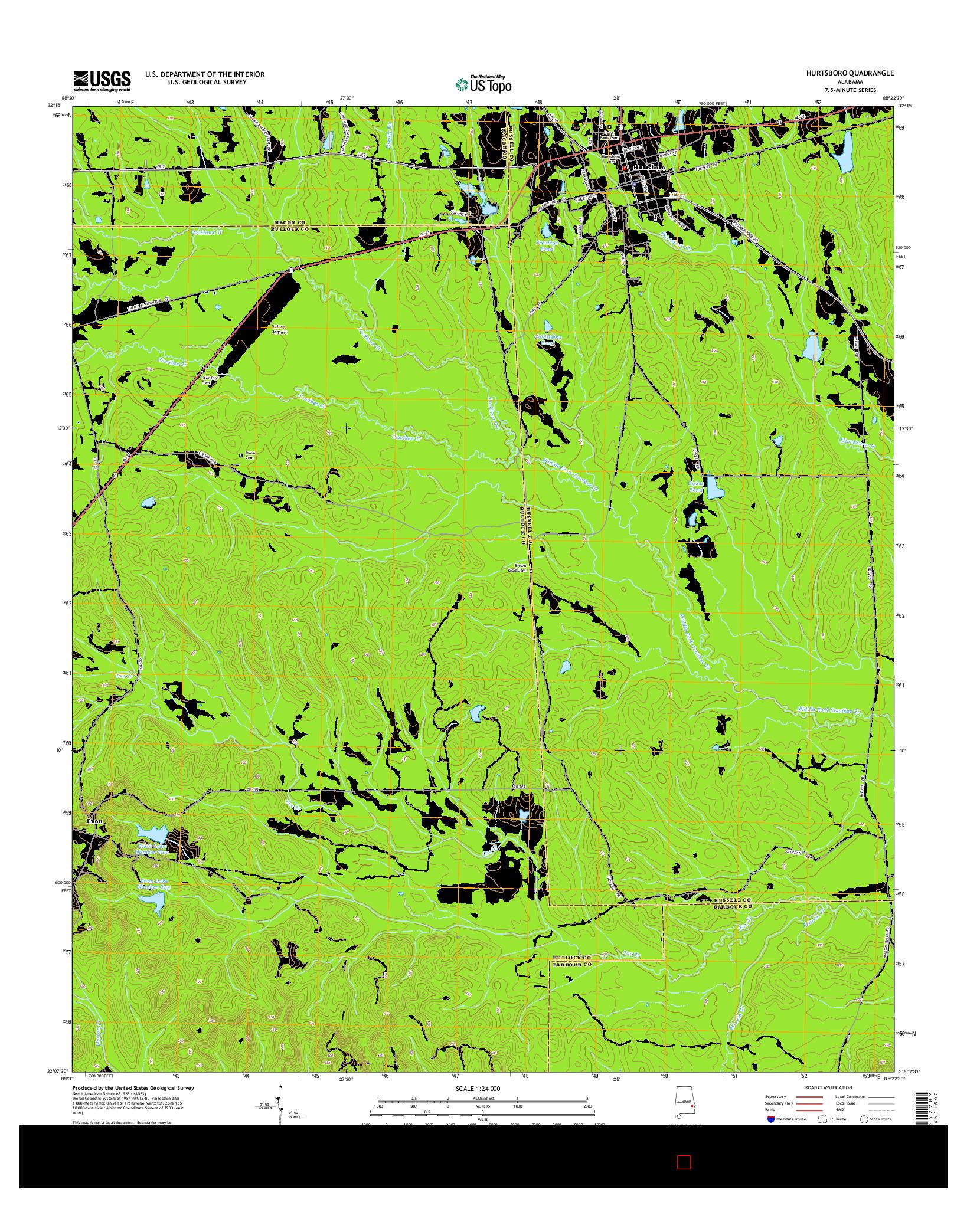 USGS US TOPO 7.5-MINUTE MAP FOR HURTSBORO, AL 2014