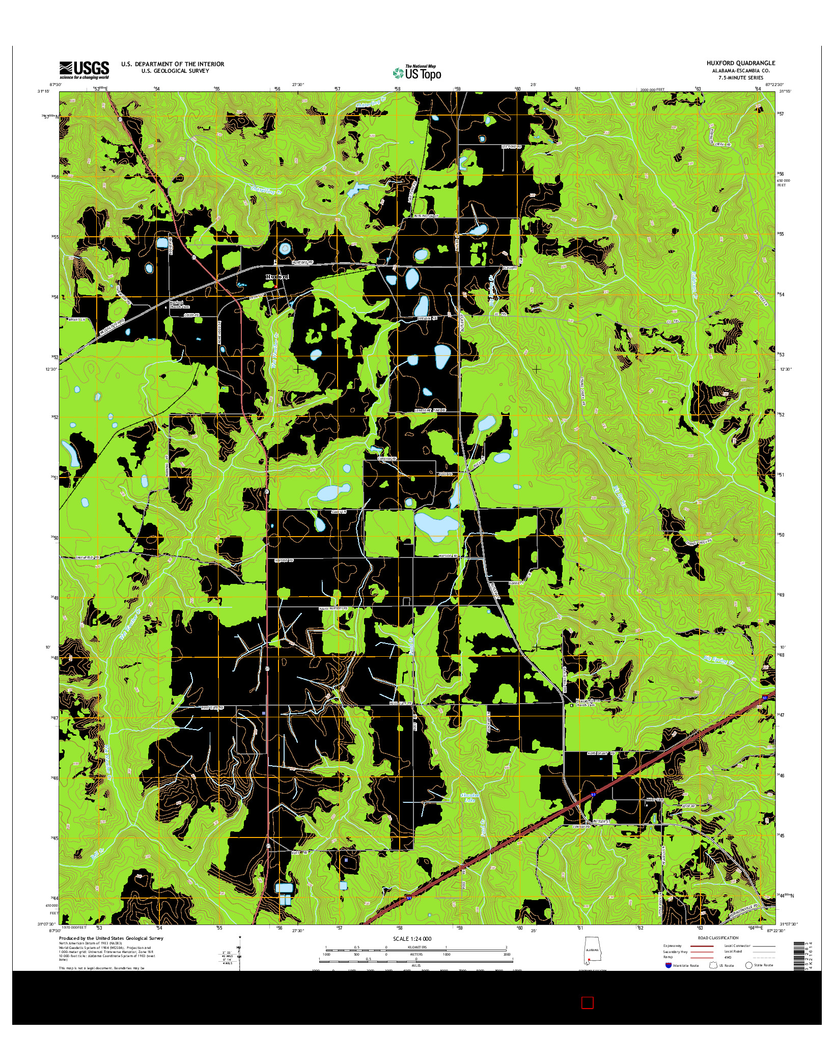 USGS US TOPO 7.5-MINUTE MAP FOR HUXFORD, AL 2014