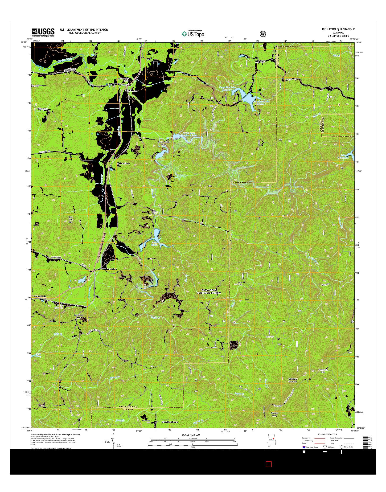 USGS US TOPO 7.5-MINUTE MAP FOR IRONATON, AL 2014
