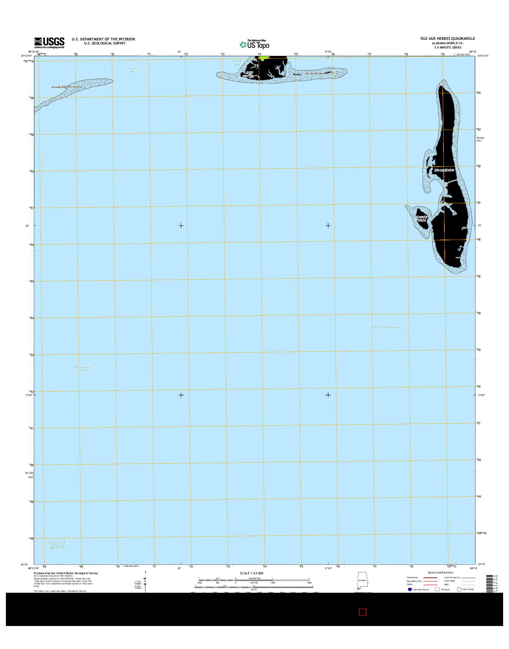 USGS US TOPO 7.5-MINUTE MAP FOR ISLE AUX HERBES, AL 2014
