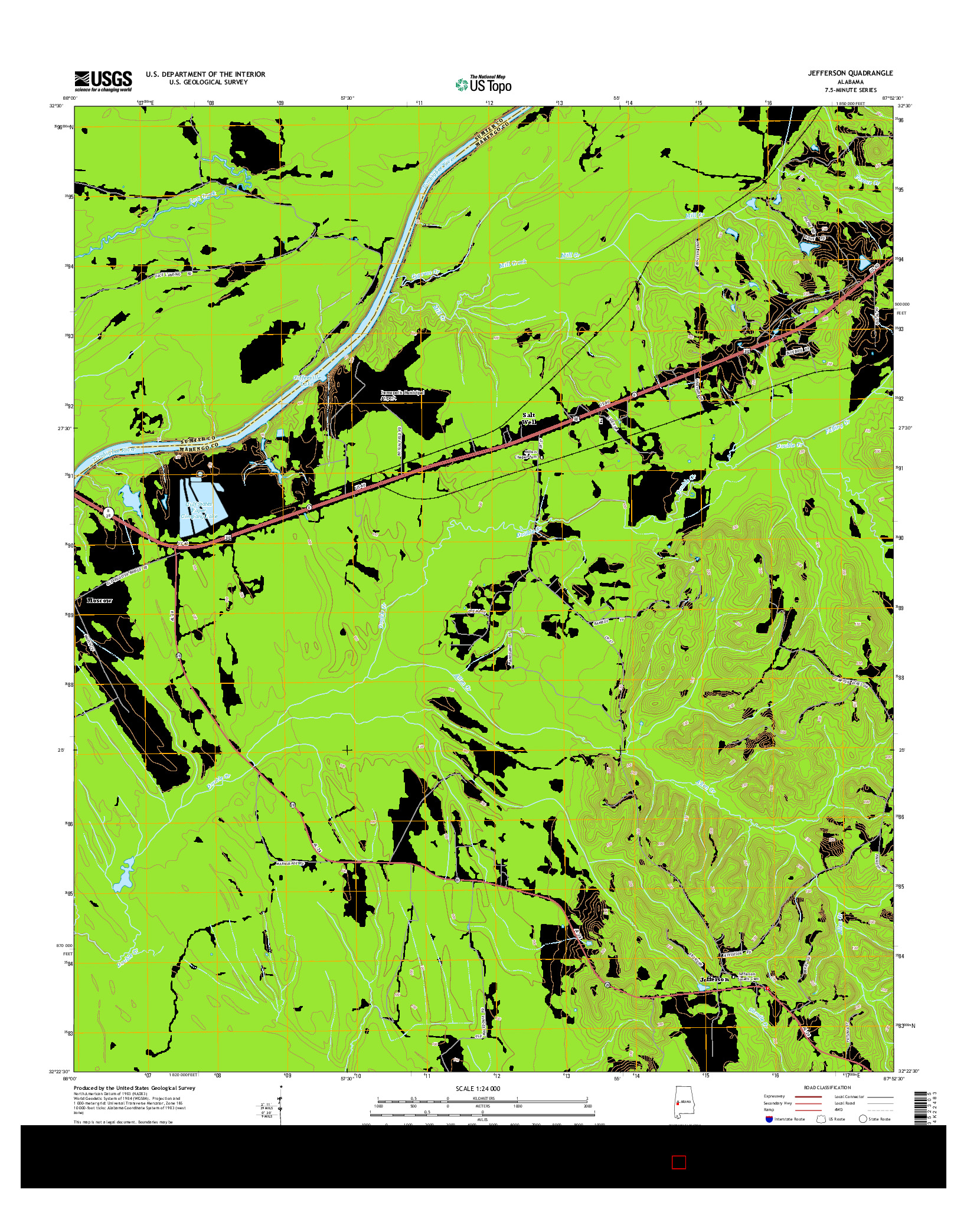 USGS US TOPO 7.5-MINUTE MAP FOR JEFFERSON, AL 2014