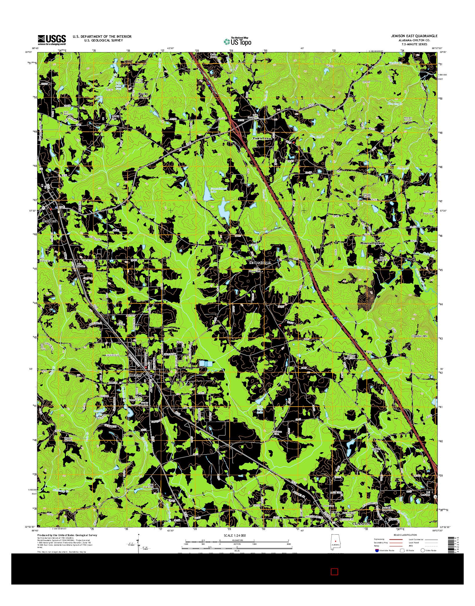 USGS US TOPO 7.5-MINUTE MAP FOR JEMISON EAST, AL 2014