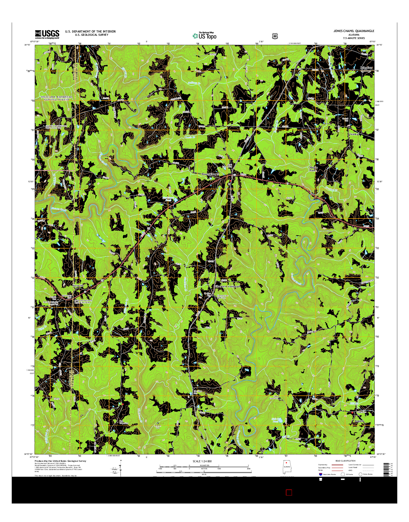 USGS US TOPO 7.5-MINUTE MAP FOR JONES CHAPEL, AL 2014