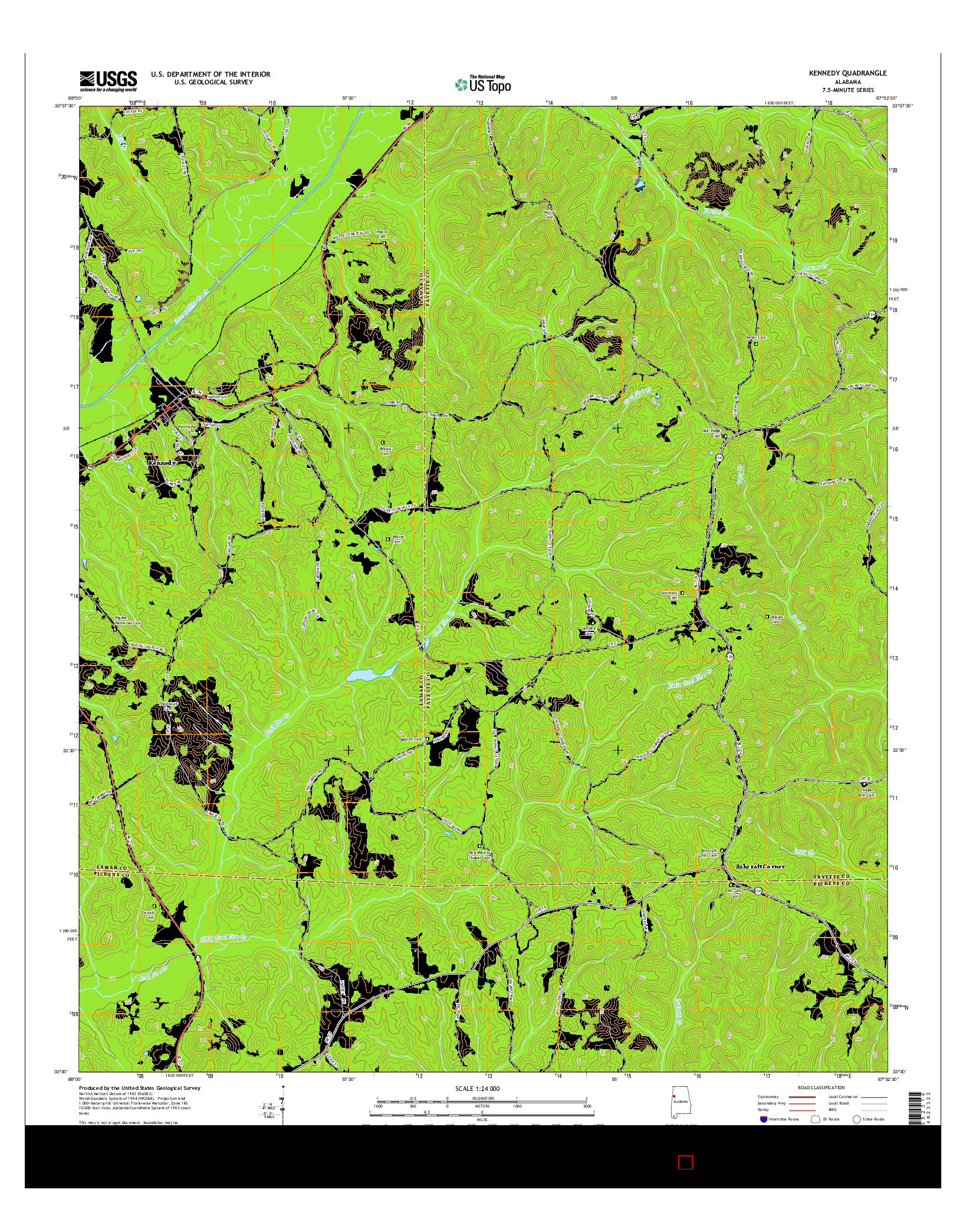 USGS US TOPO 7.5-MINUTE MAP FOR KENNEDY, AL 2014