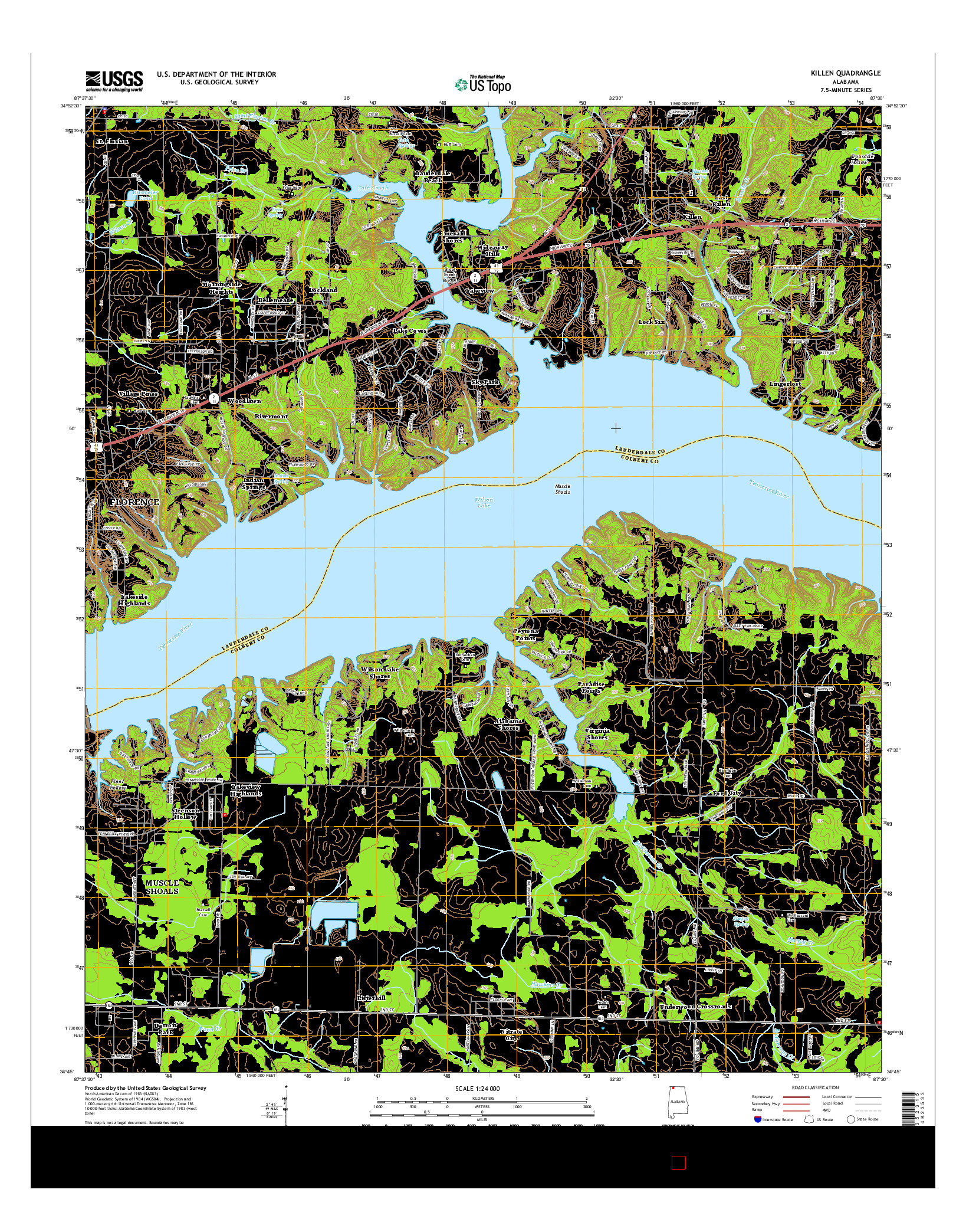 USGS US TOPO 7.5-MINUTE MAP FOR KILLEN, AL 2014