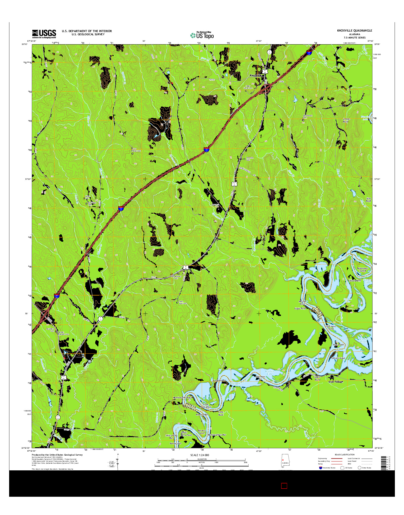 USGS US TOPO 7.5-MINUTE MAP FOR KNOXVILLE, AL 2014