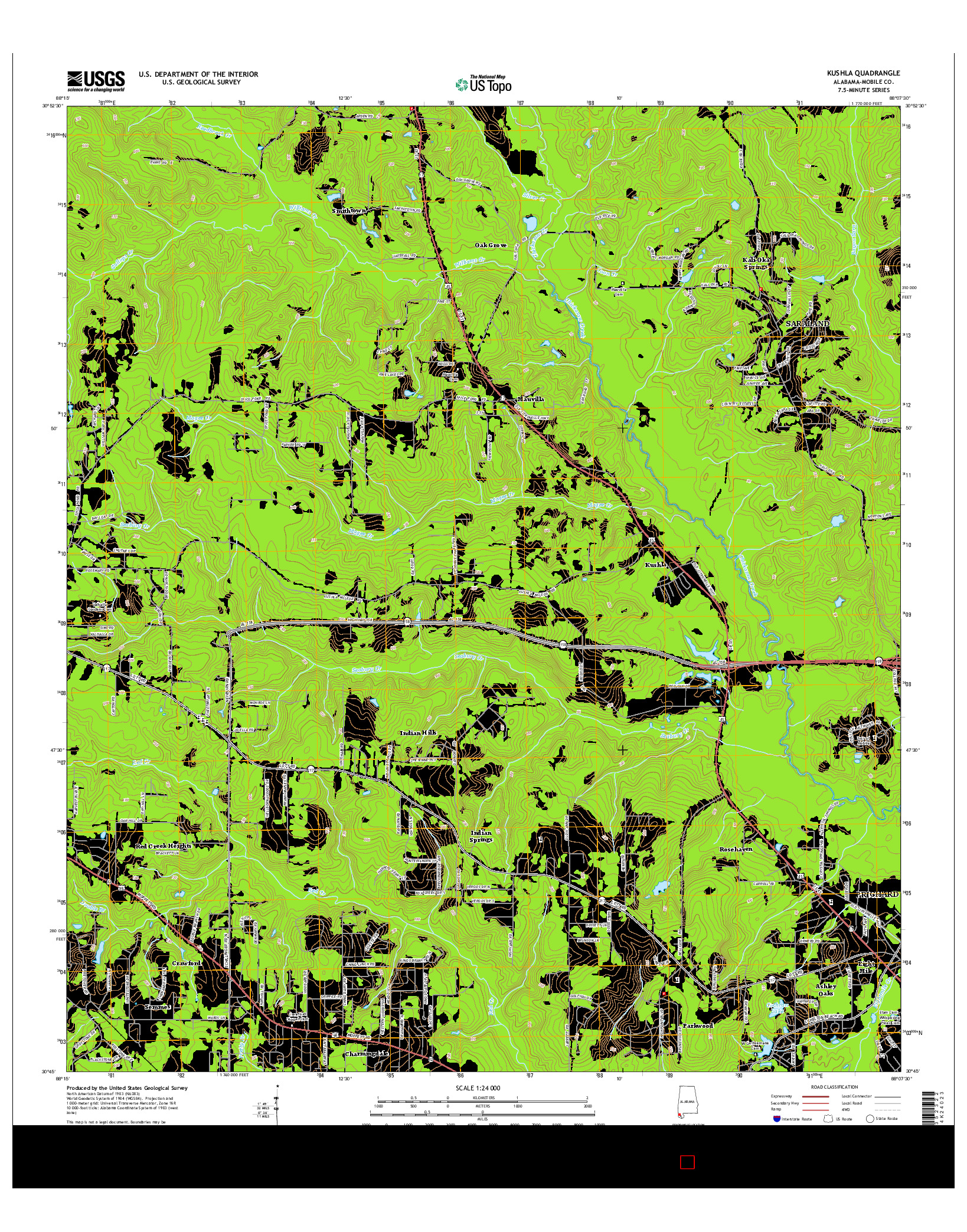 USGS US TOPO 7.5-MINUTE MAP FOR KUSHLA, AL 2014