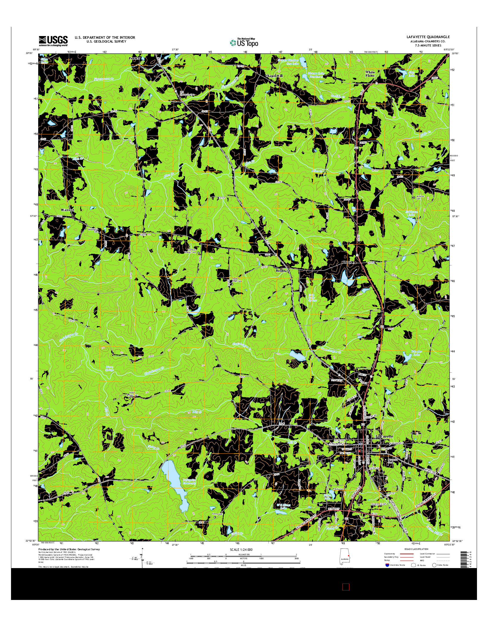 USGS US TOPO 7.5-MINUTE MAP FOR LAFAYETTE, AL 2014