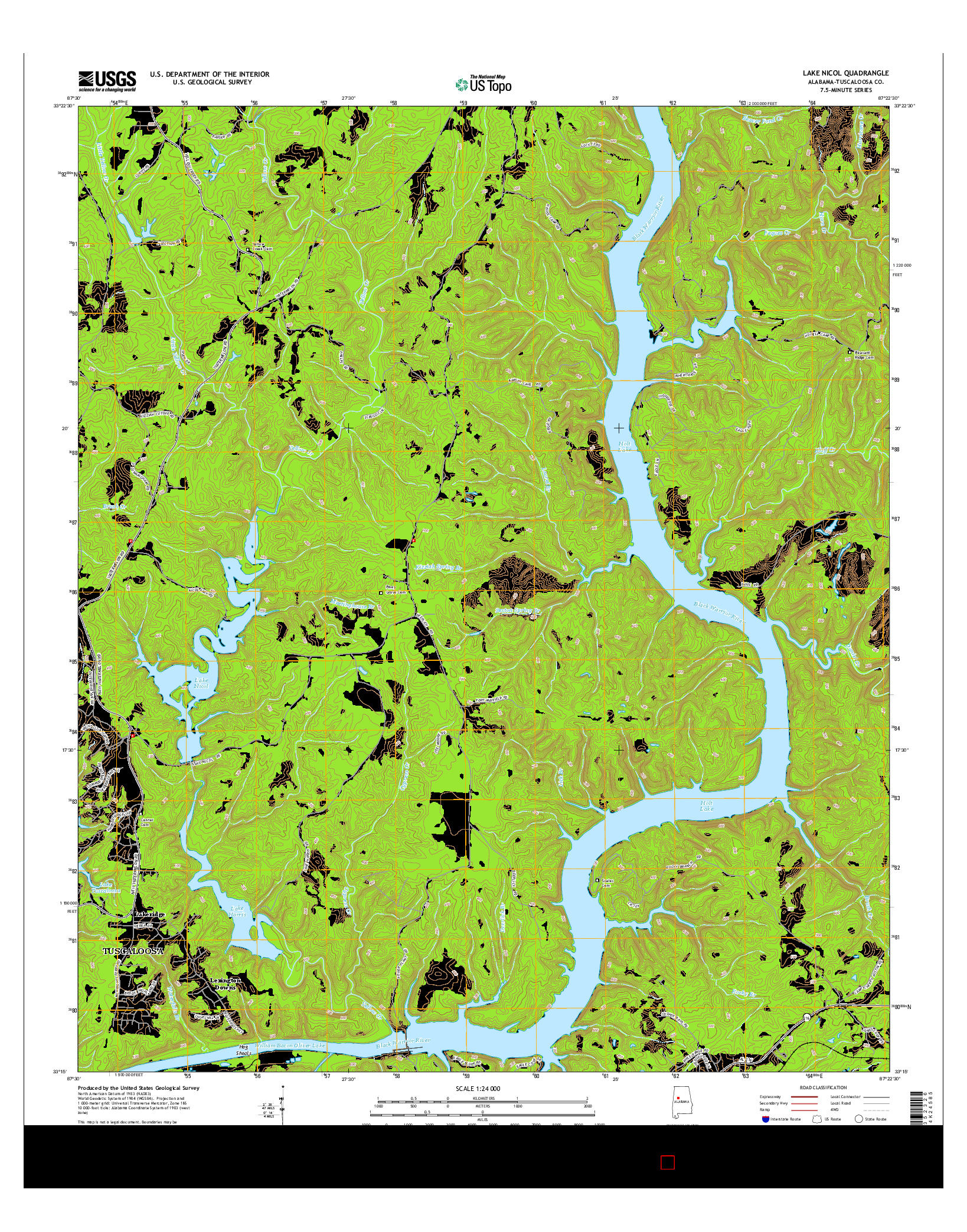 USGS US TOPO 7.5-MINUTE MAP FOR LAKE NICOL, AL 2014
