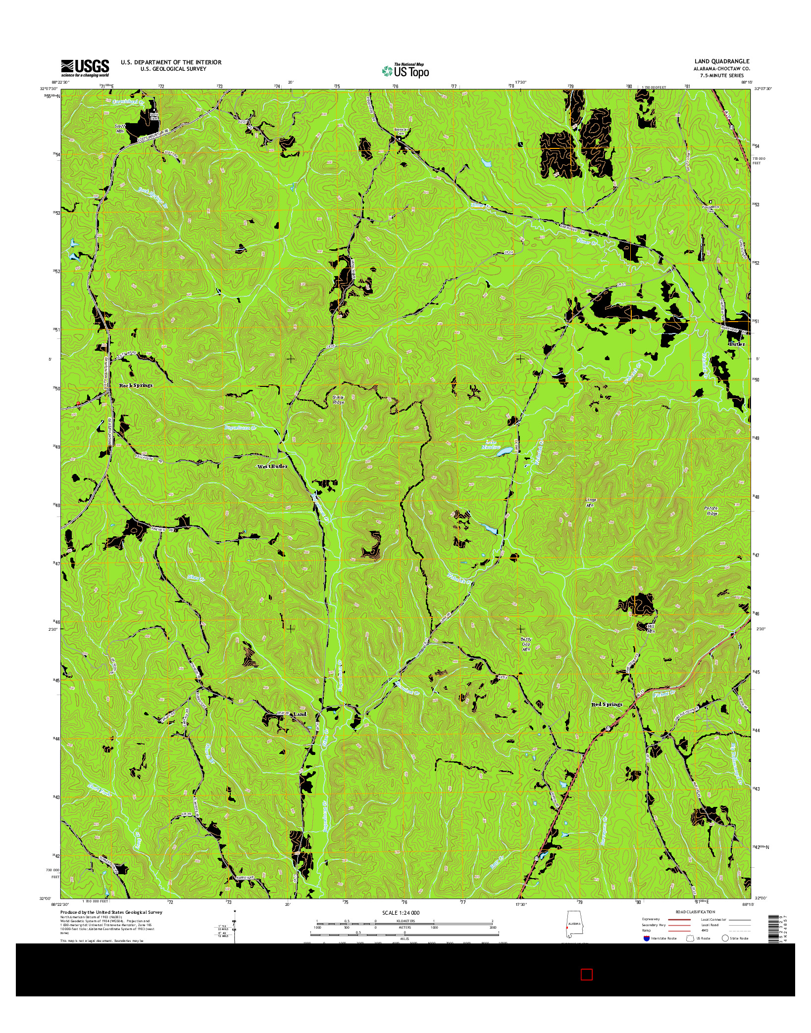 USGS US TOPO 7.5-MINUTE MAP FOR LAND, AL 2014