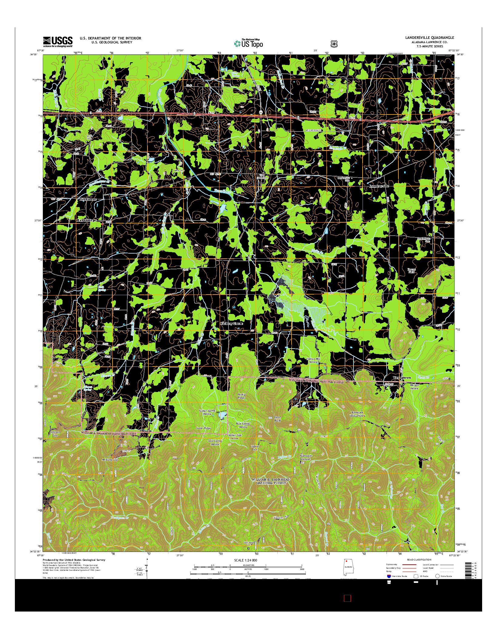 USGS US TOPO 7.5-MINUTE MAP FOR LANDERSVILLE, AL 2014