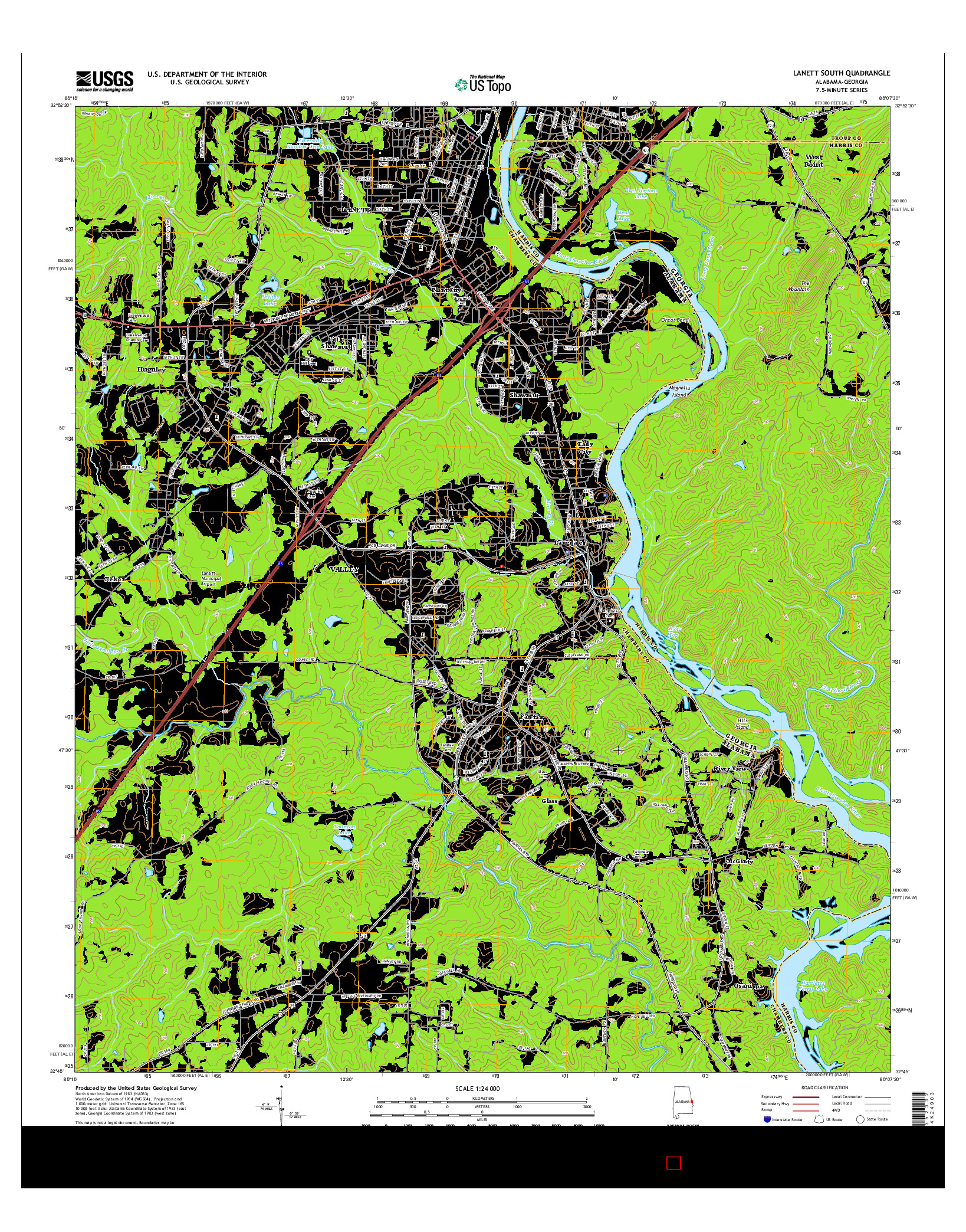 USGS US TOPO 7.5-MINUTE MAP FOR LANETT SOUTH, AL-GA 2014