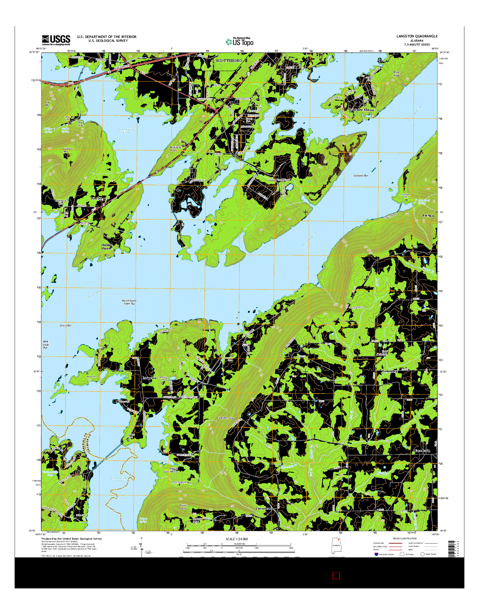 USGS US TOPO 7.5-MINUTE MAP FOR LANGSTON, AL 2014