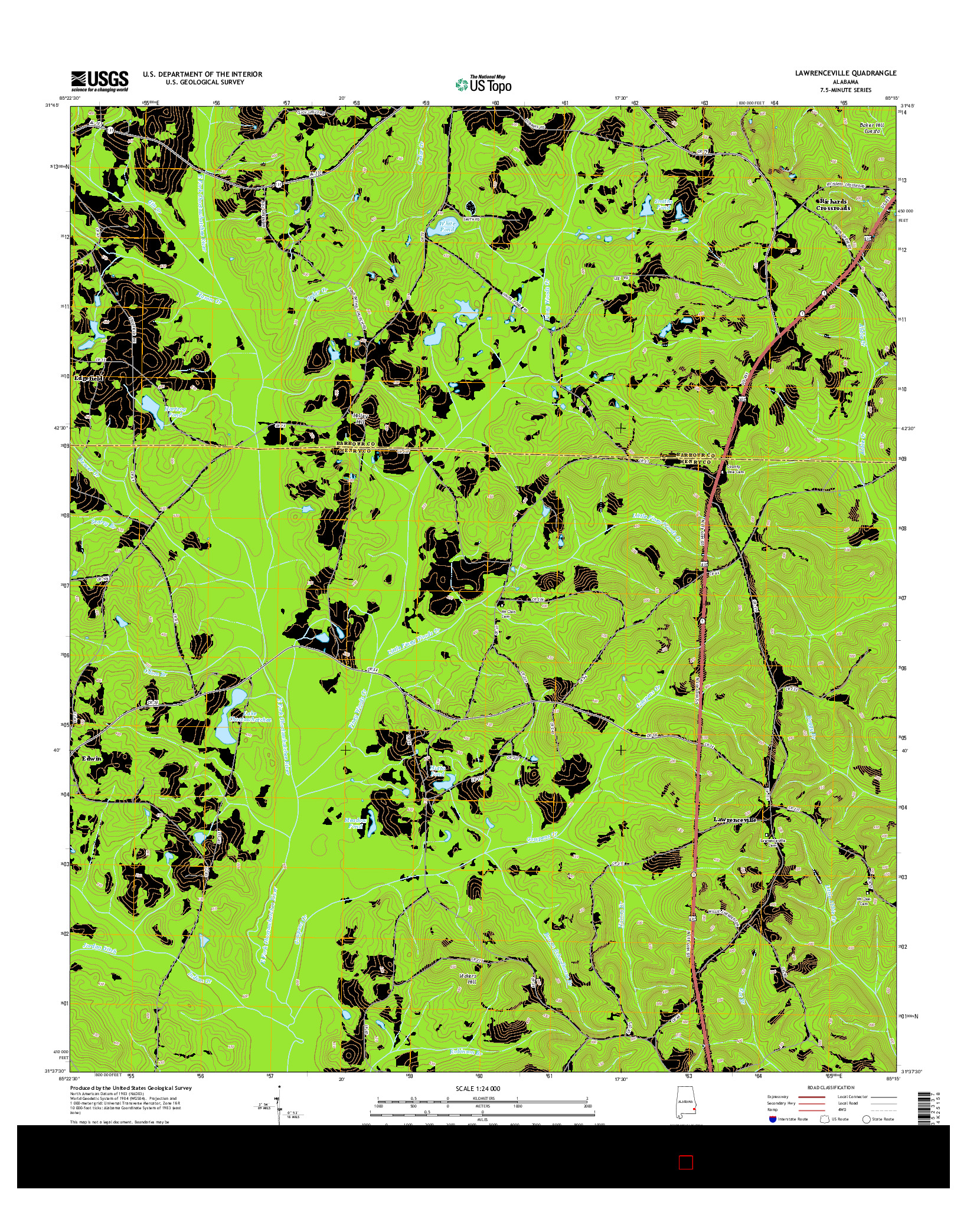 USGS US TOPO 7.5-MINUTE MAP FOR LAWRENCEVILLE, AL 2014