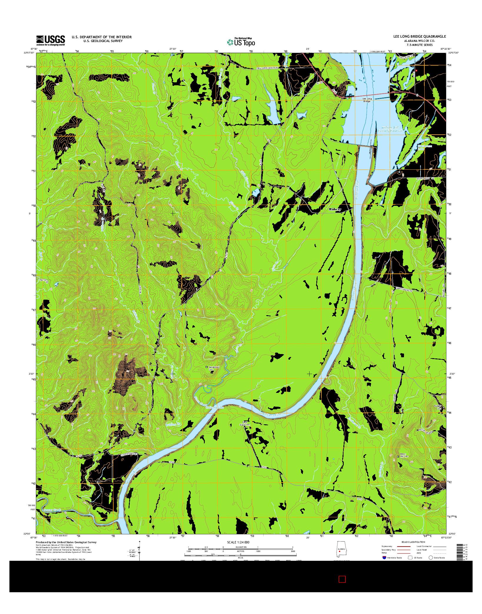 USGS US TOPO 7.5-MINUTE MAP FOR LEE LONG BRIDGE, AL 2014
