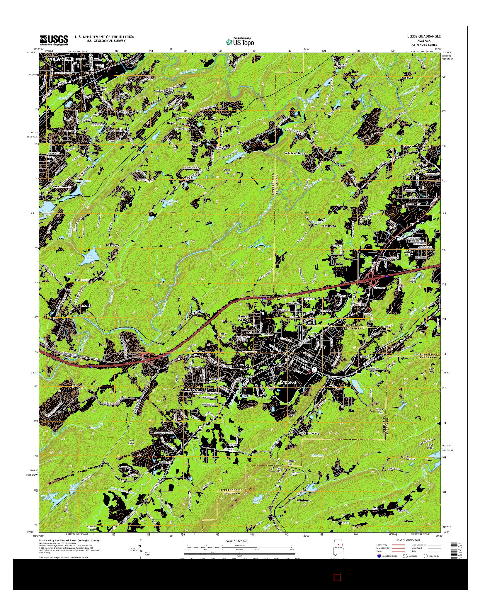 USGS US TOPO 7.5-MINUTE MAP FOR LEEDS, AL 2014