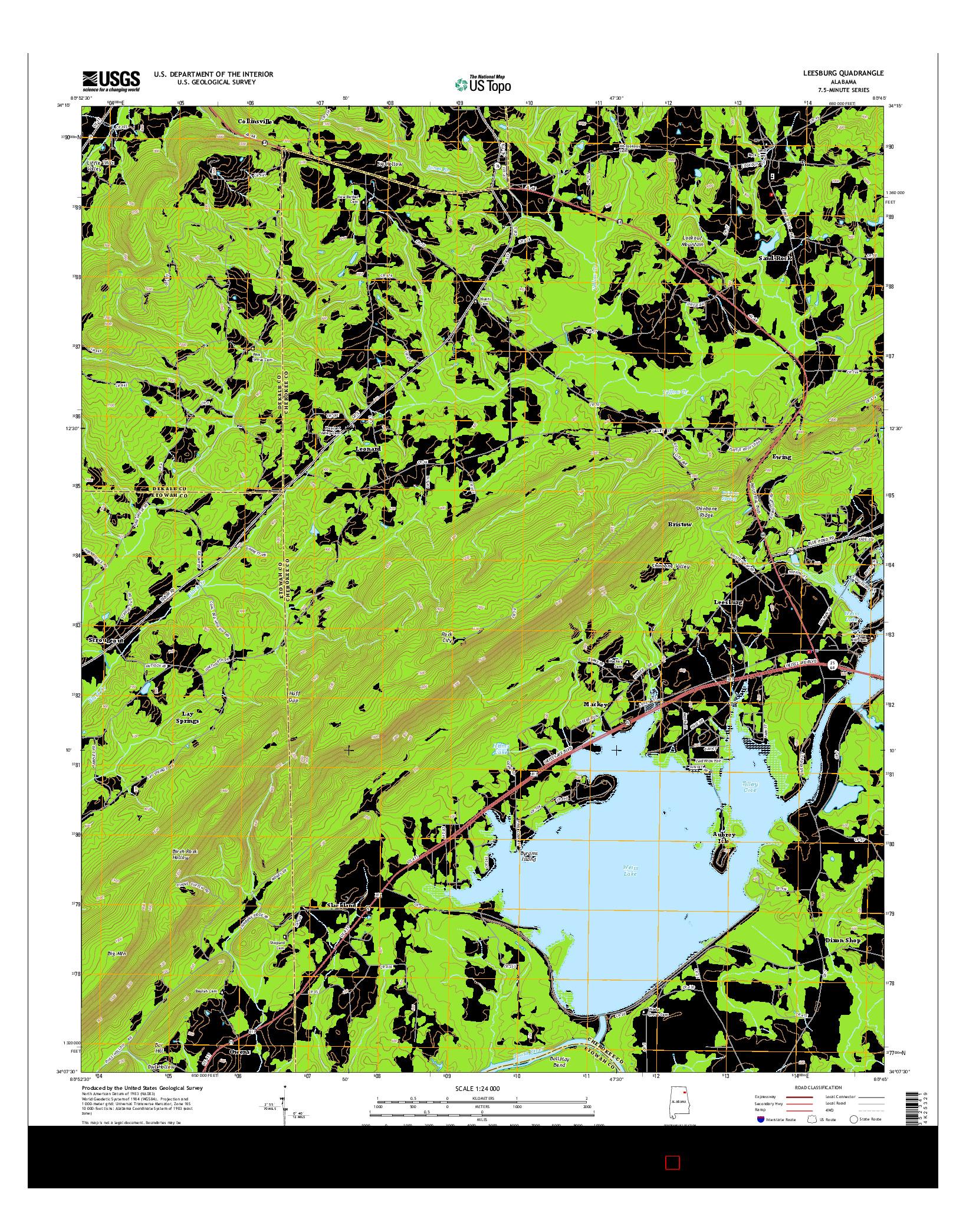 USGS US TOPO 7.5-MINUTE MAP FOR LEESBURG, AL 2014