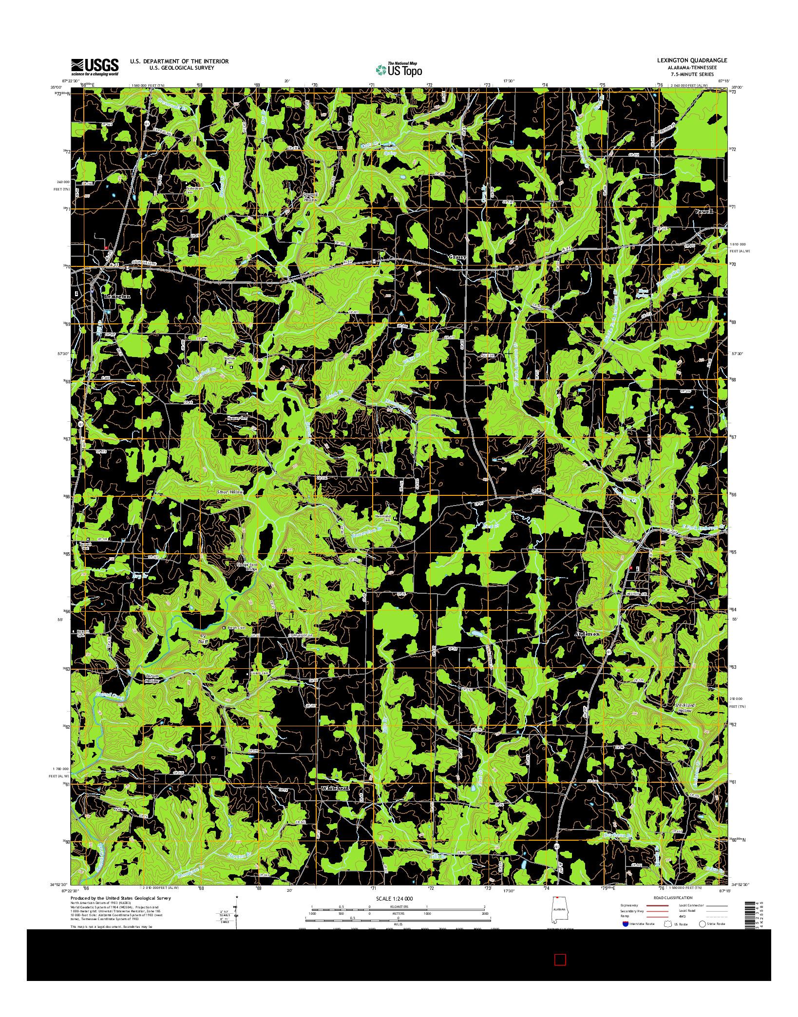 USGS US TOPO 7.5-MINUTE MAP FOR LEXINGTON, AL-TN 2014