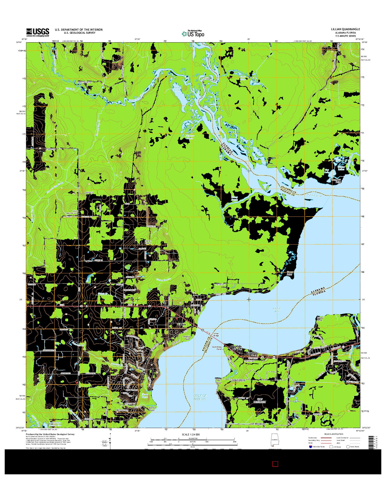 USGS US TOPO 7.5-MINUTE MAP FOR LILLIAN, AL-FL 2014