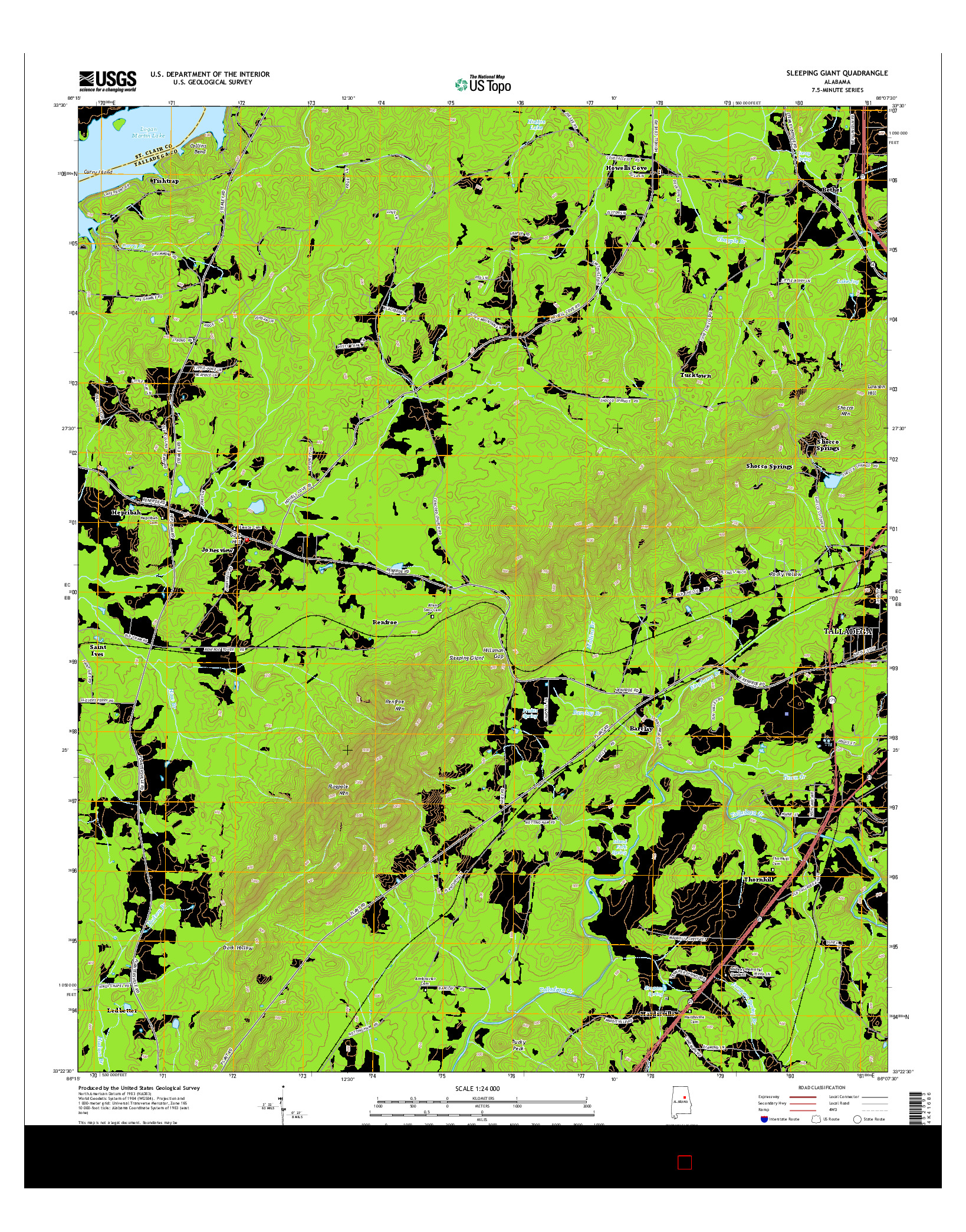 USGS US TOPO 7.5-MINUTE MAP FOR SLEEPING GIANT, AL 2014