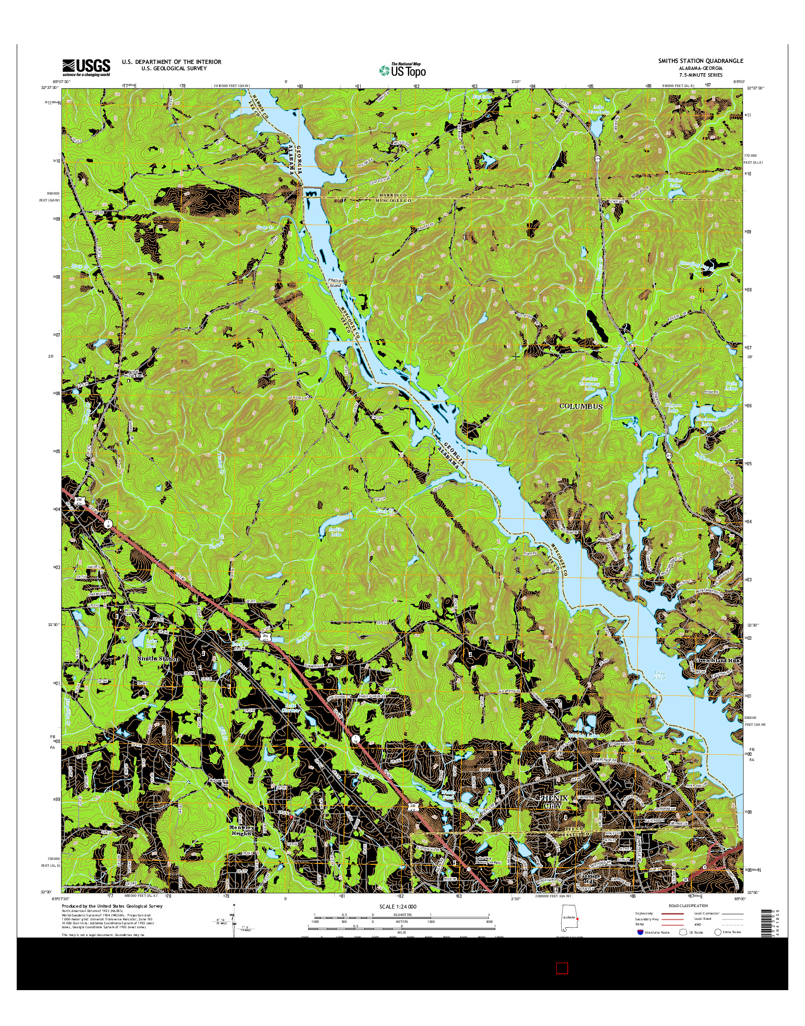 USGS US TOPO 7.5-MINUTE MAP FOR SMITHS STATION, AL-GA 2014