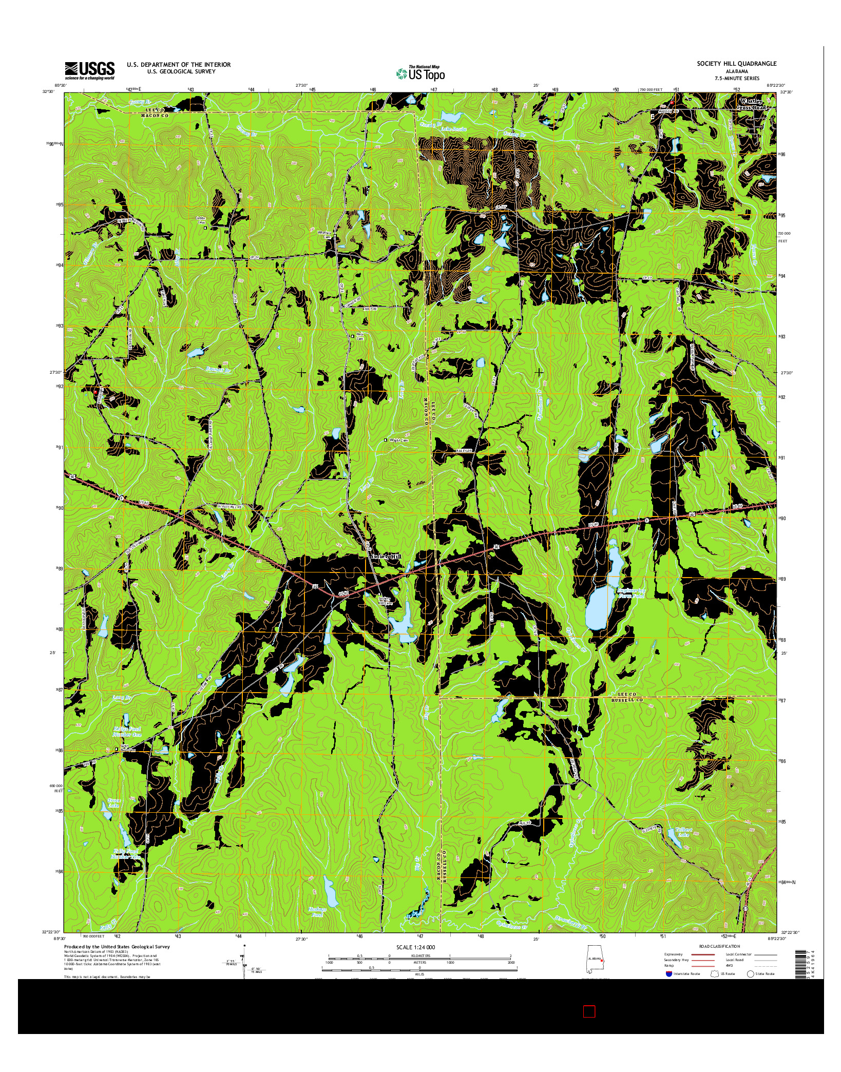 USGS US TOPO 7.5-MINUTE MAP FOR SOCIETY HILL, AL 2014