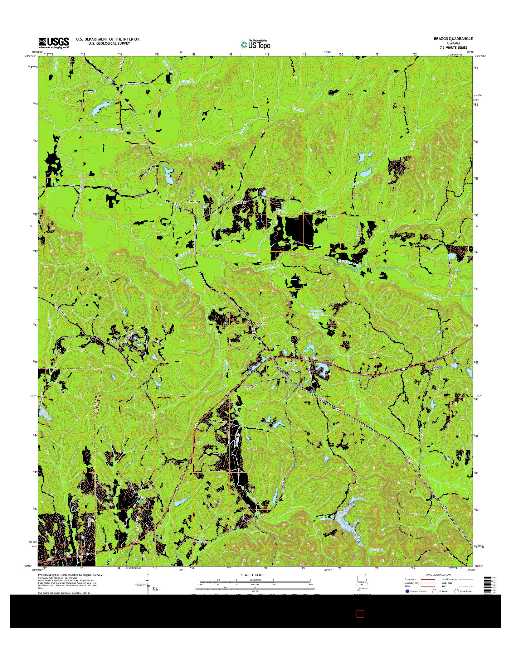 USGS US TOPO 7.5-MINUTE MAP FOR BRAGGS, AL 2014