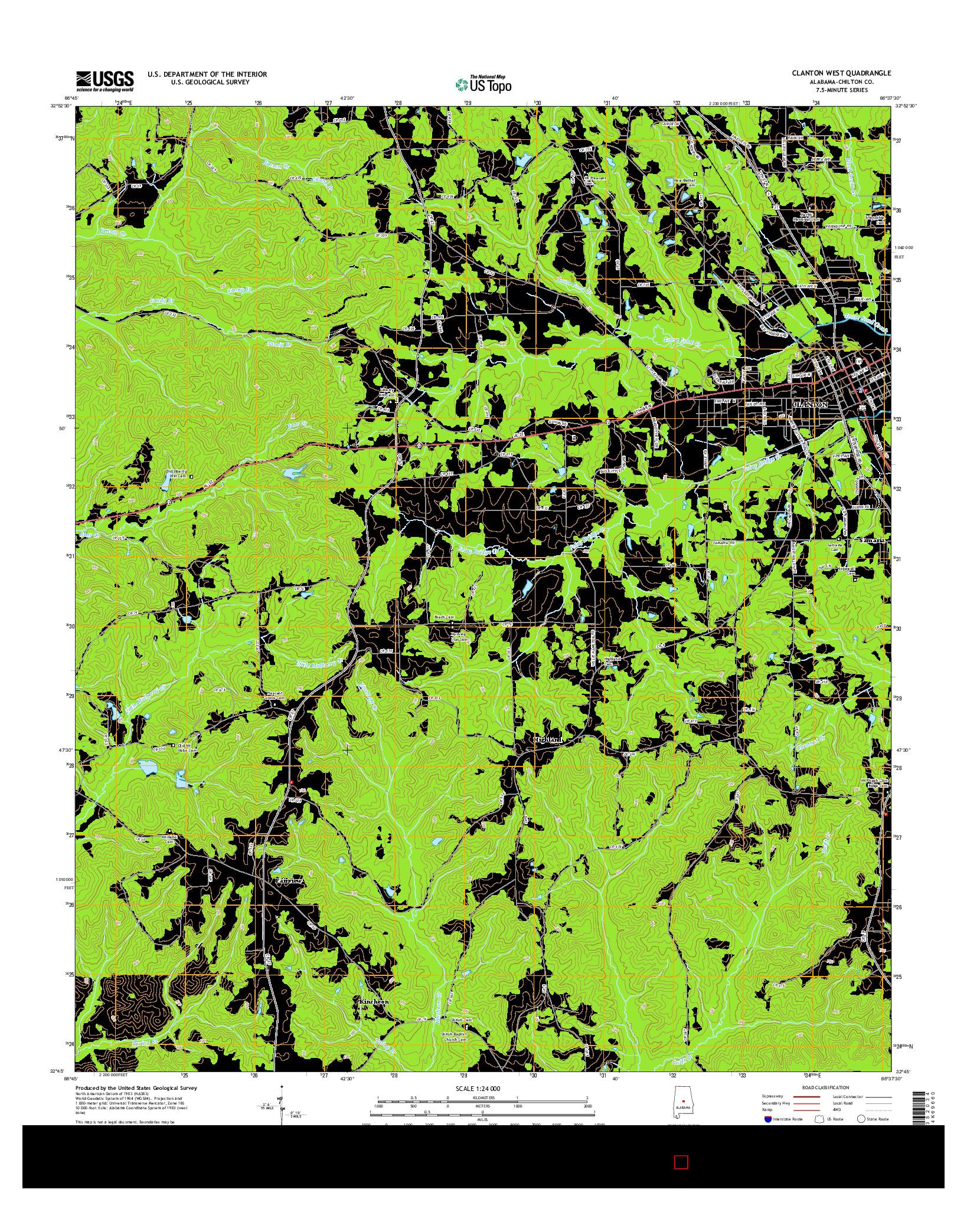 USGS US TOPO 7.5-MINUTE MAP FOR CLANTON WEST, AL 2014