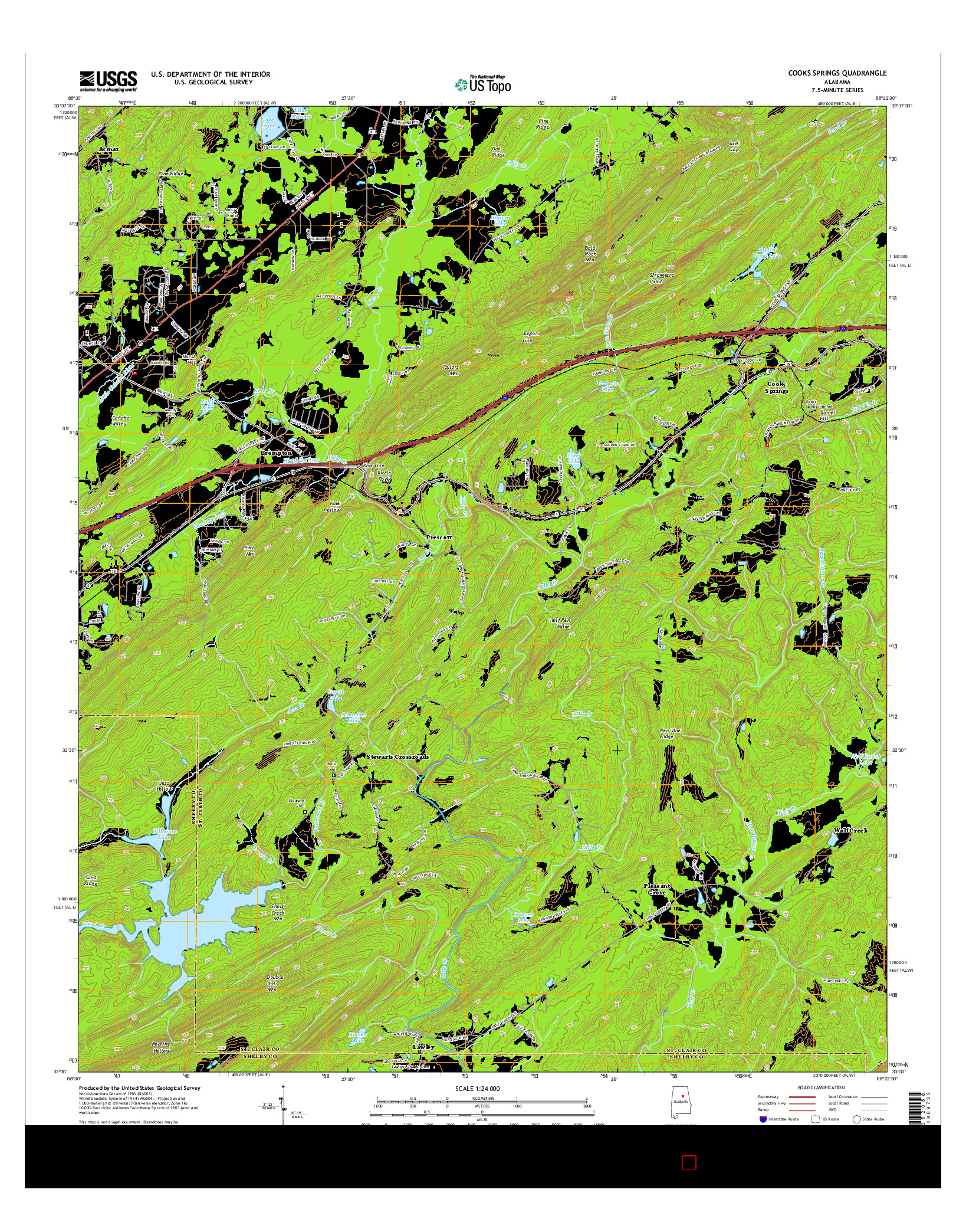 USGS US TOPO 7.5-MINUTE MAP FOR COOKS SPRINGS, AL 2014