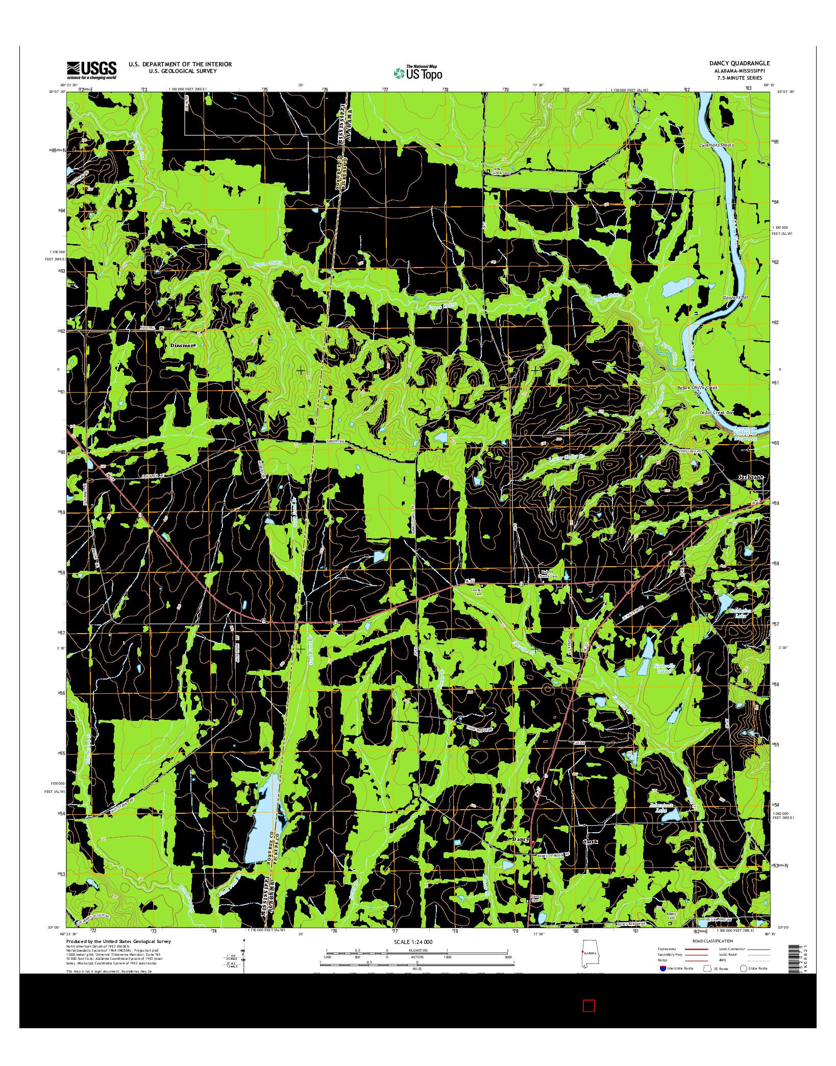 USGS US TOPO 7.5-MINUTE MAP FOR DANCY, AL-MS 2014