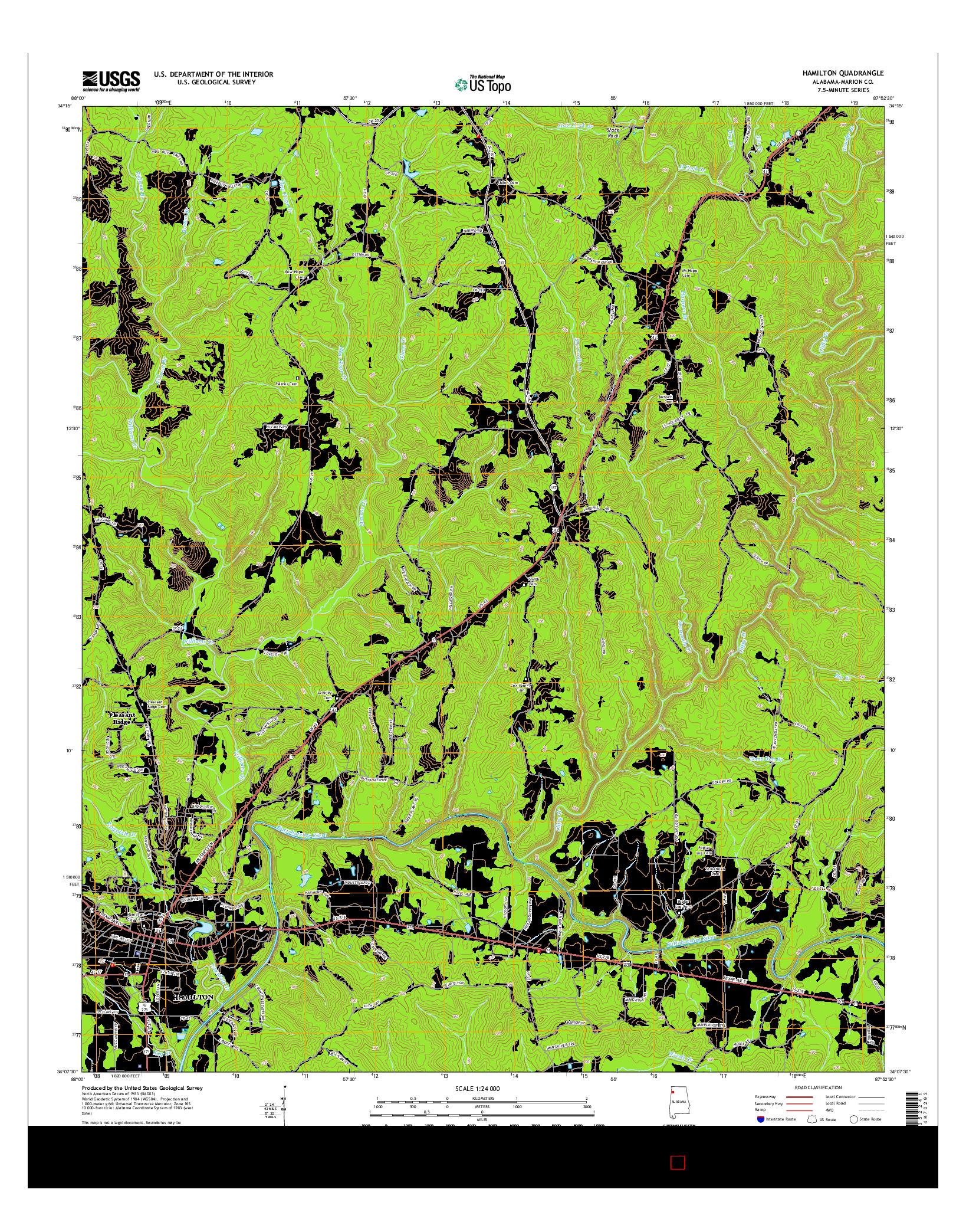 USGS US TOPO 7.5-MINUTE MAP FOR HAMILTON, AL 2014