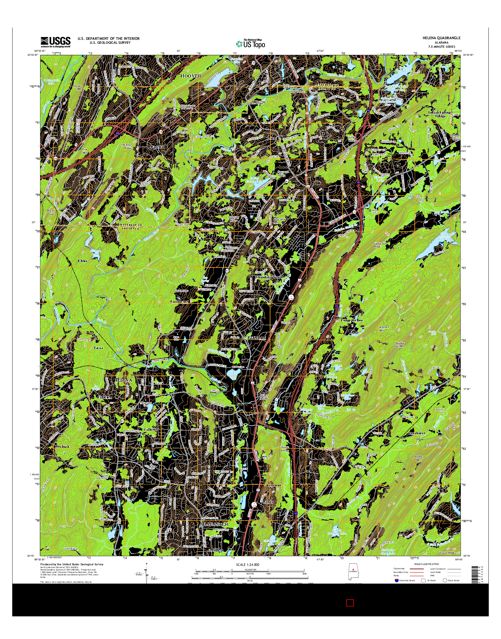 USGS US TOPO 7.5-MINUTE MAP FOR HELENA, AL 2014