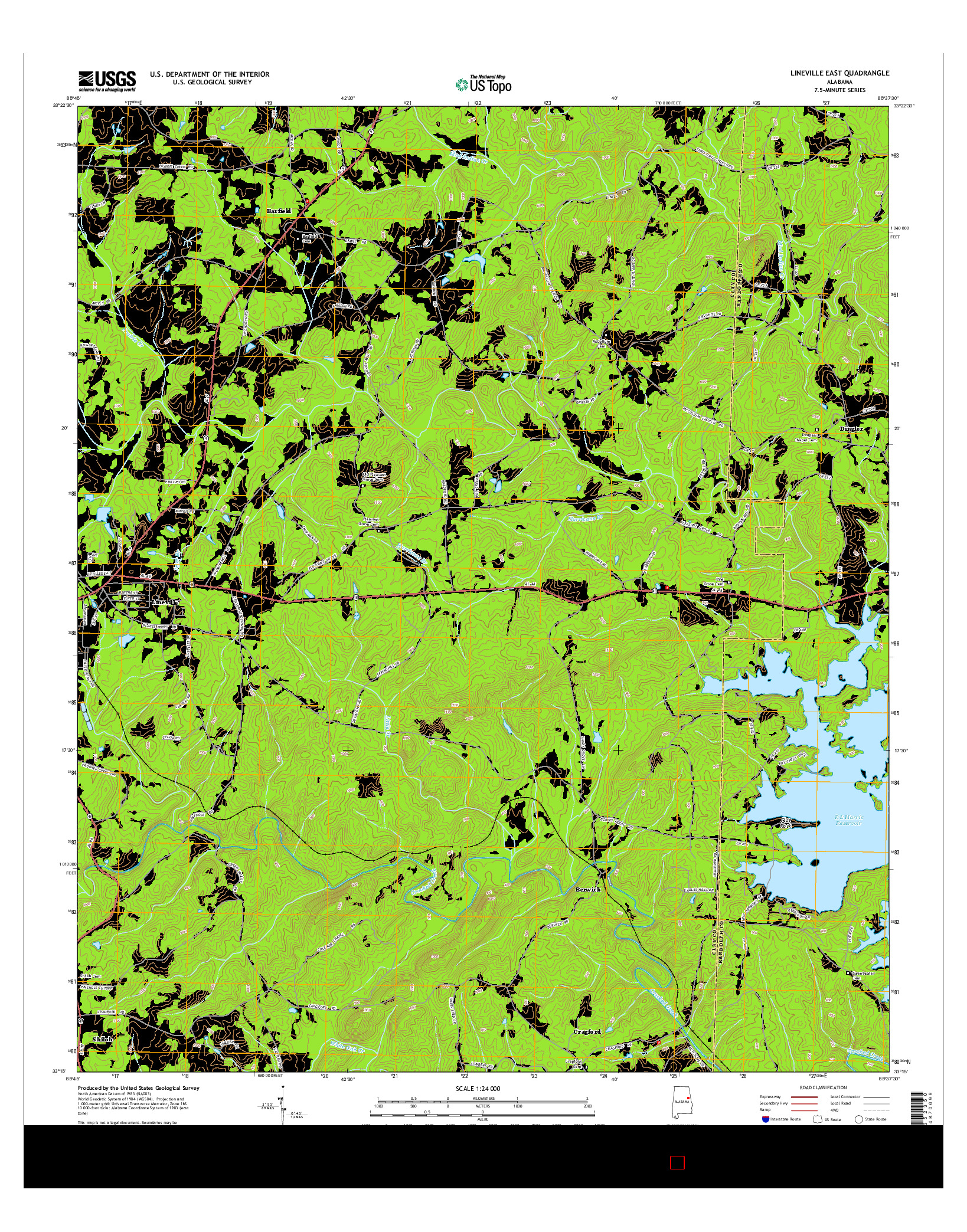 USGS US TOPO 7.5-MINUTE MAP FOR LINEVILLE EAST, AL 2014