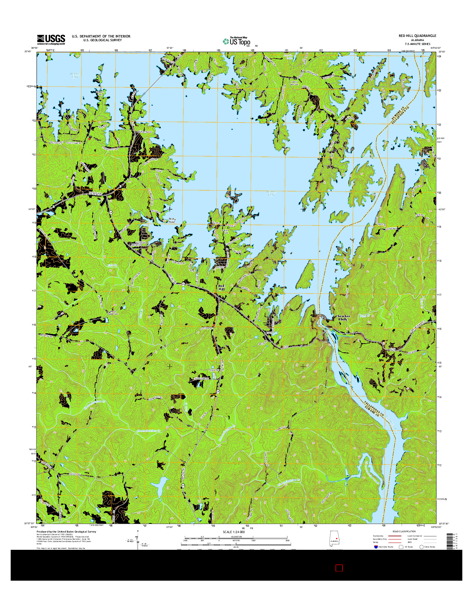USGS US TOPO 7.5-MINUTE MAP FOR RED HILL, AL 2014